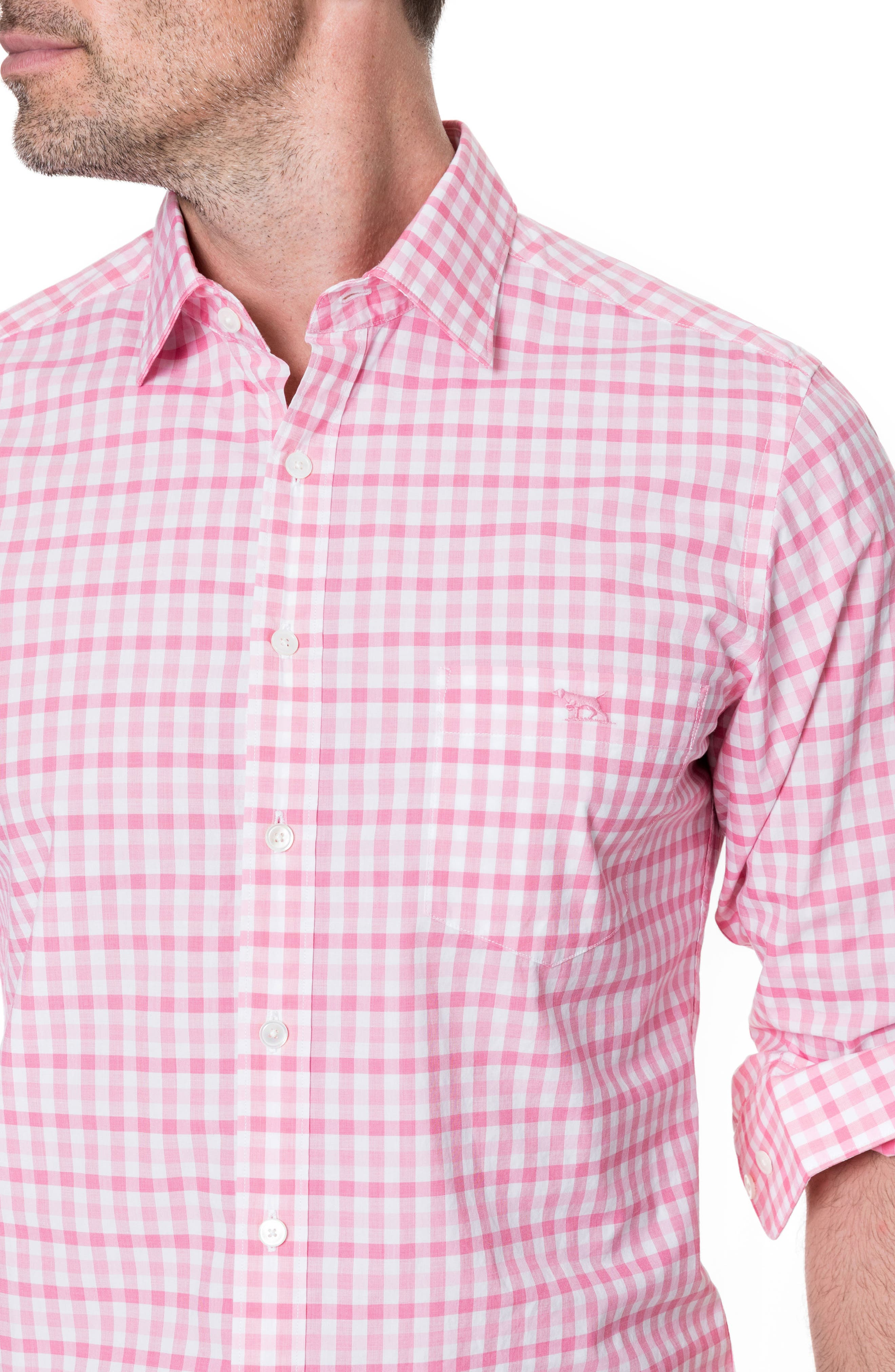 Shorecliffe Regular Fit Gingham Sport Shirt,                             Alternate thumbnail 2, color,                             Fuchsia