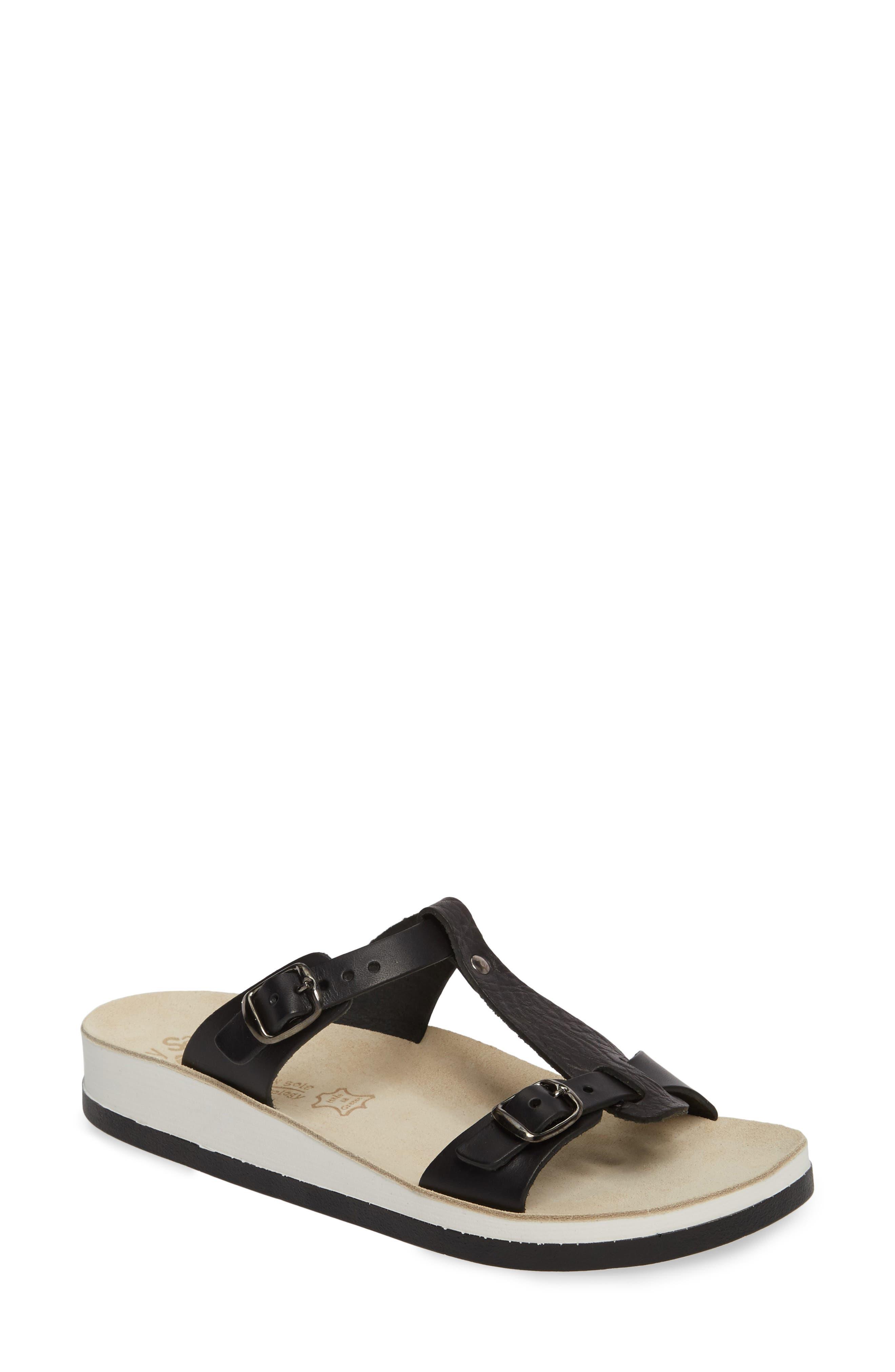 Jessamine T-Strap Sandal,                             Main thumbnail 1, color,                             Black Volcano Leather
