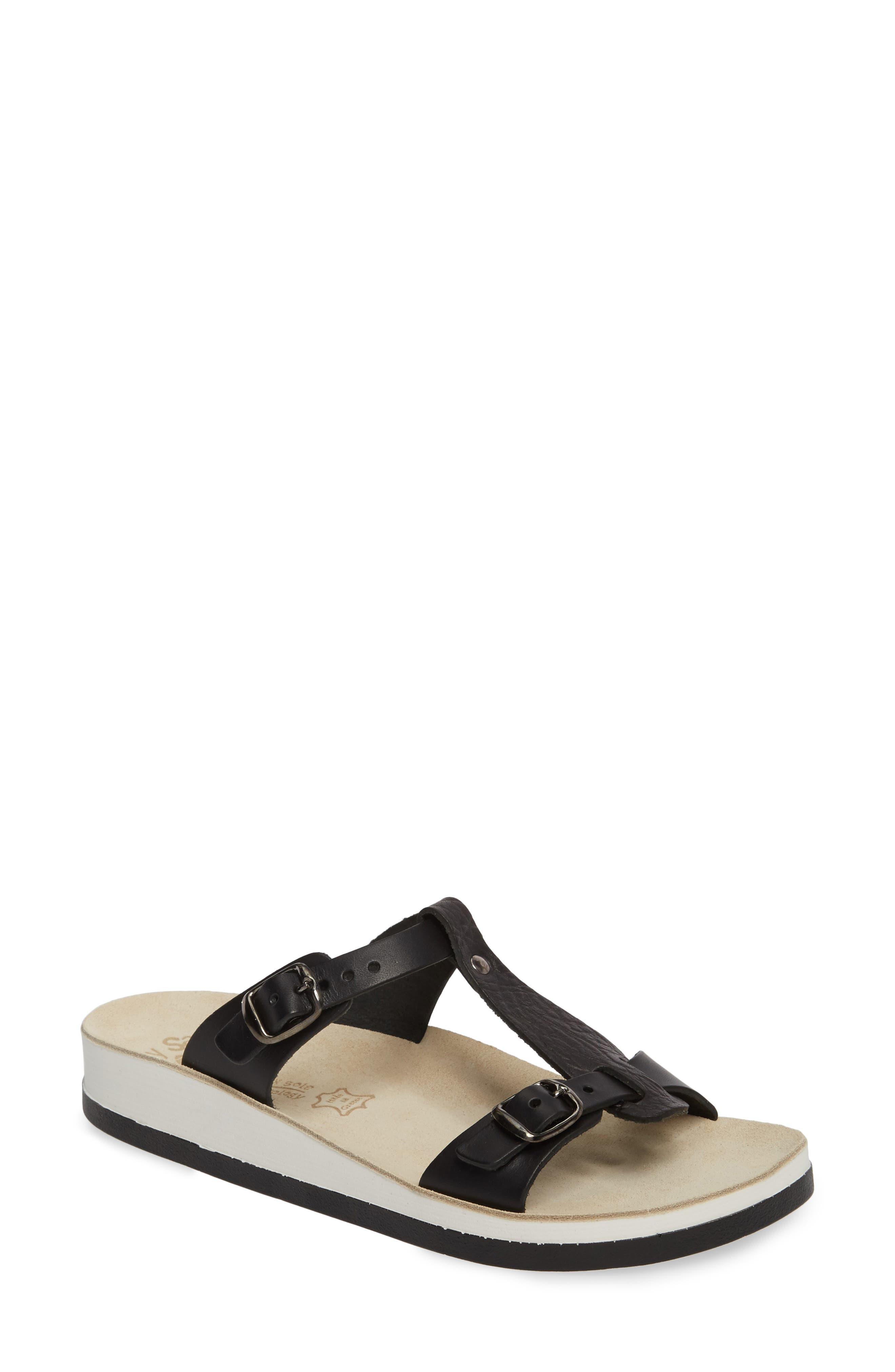 Jessamine T-Strap Sandal,                         Main,                         color, Black Volcano Leather