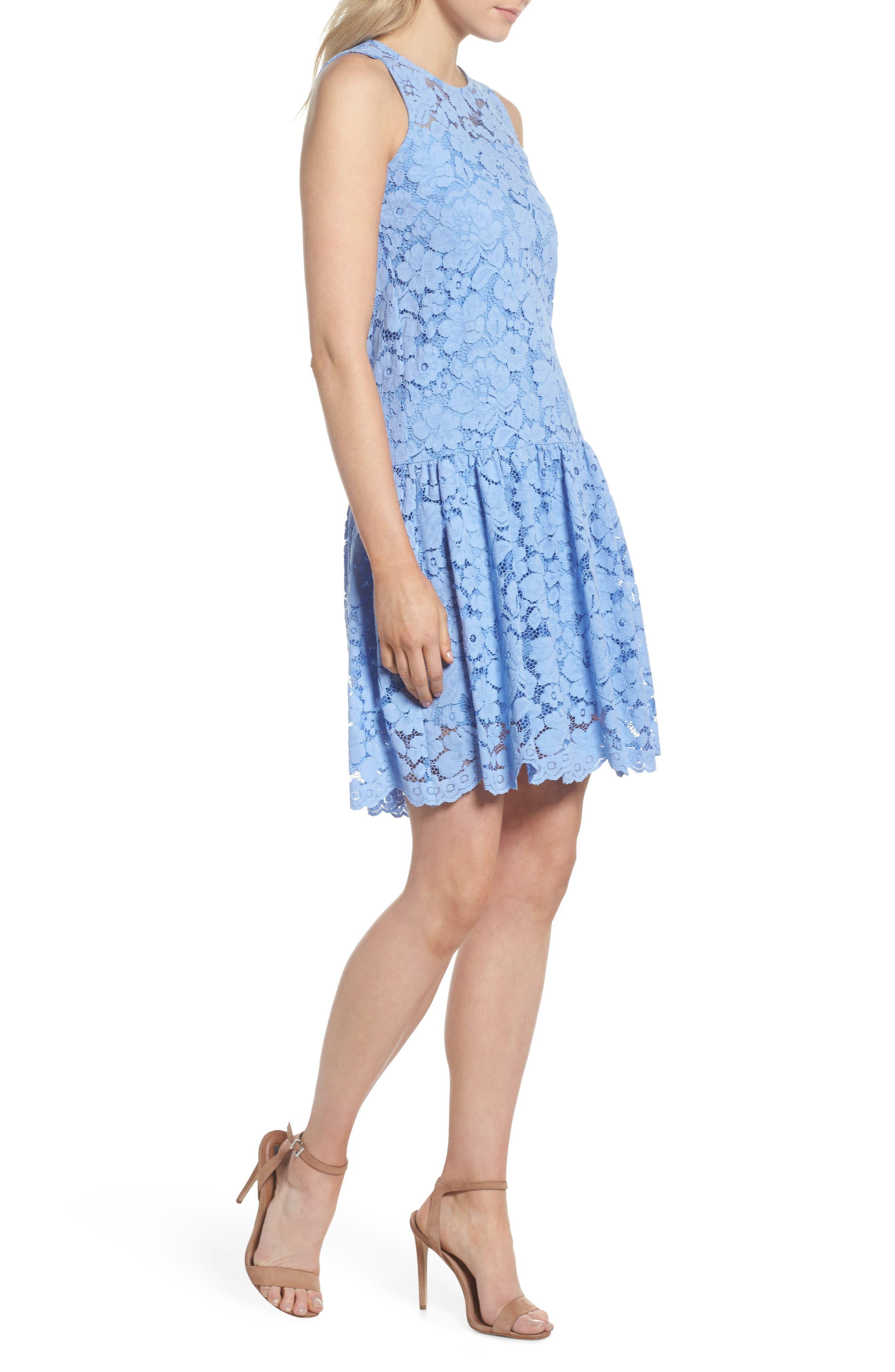 Lace Drop Waist Dress,                             Alternate thumbnail 3, color,                             Cornflower