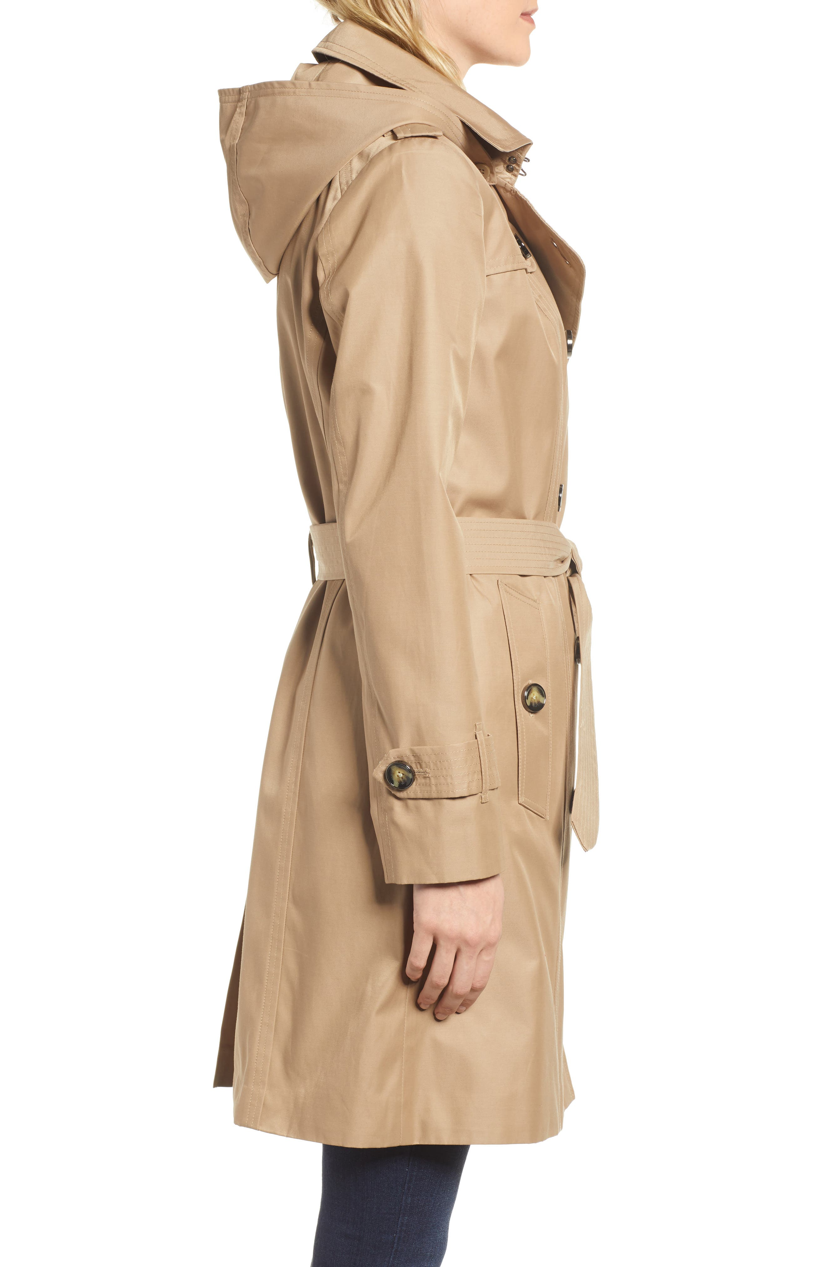 Double Breasted Trench Coat,                             Alternate thumbnail 3, color,                             Br Khaki