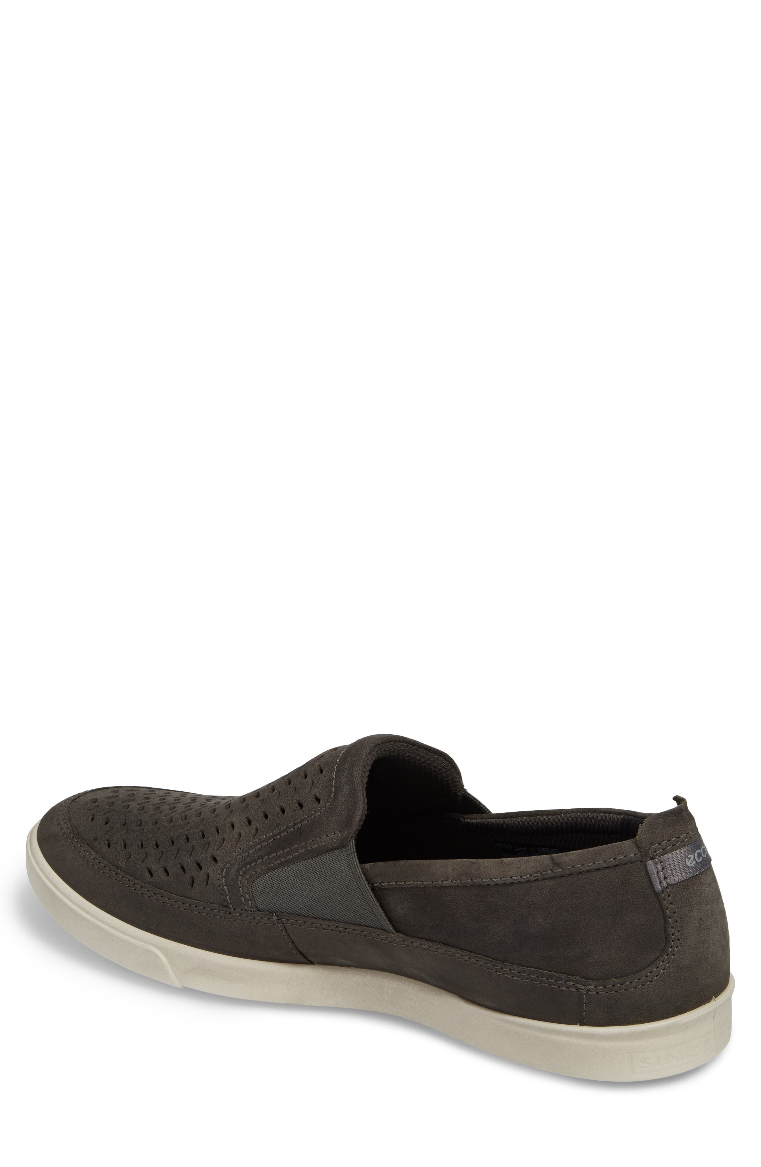 'Collin' Perforated Slip On Sneaker,                             Alternate thumbnail 2, color,                             Titanium Leather