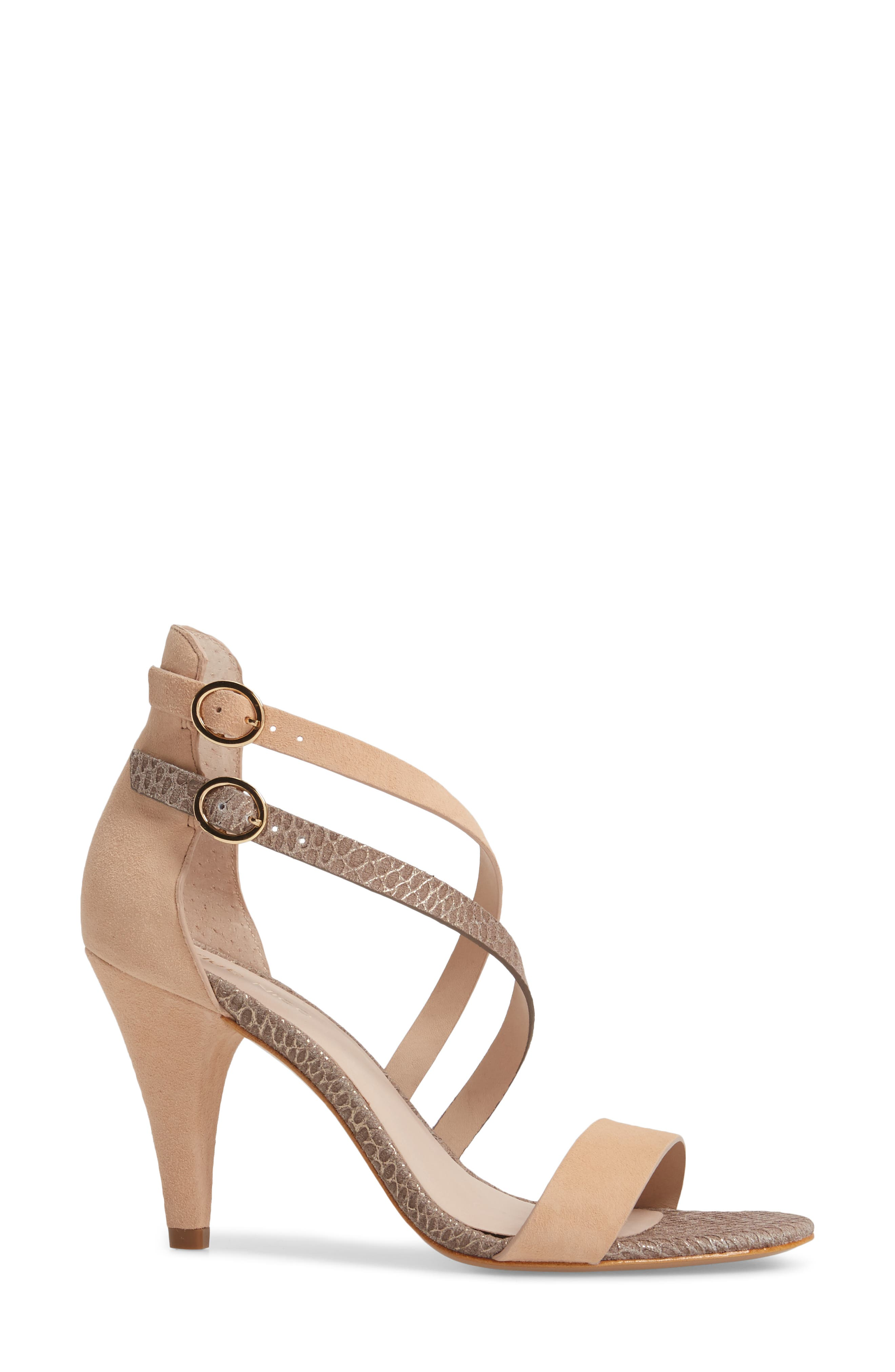 Arden Sandal,                             Alternate thumbnail 3, color,                             Peony/ Pewter Embossed Leather