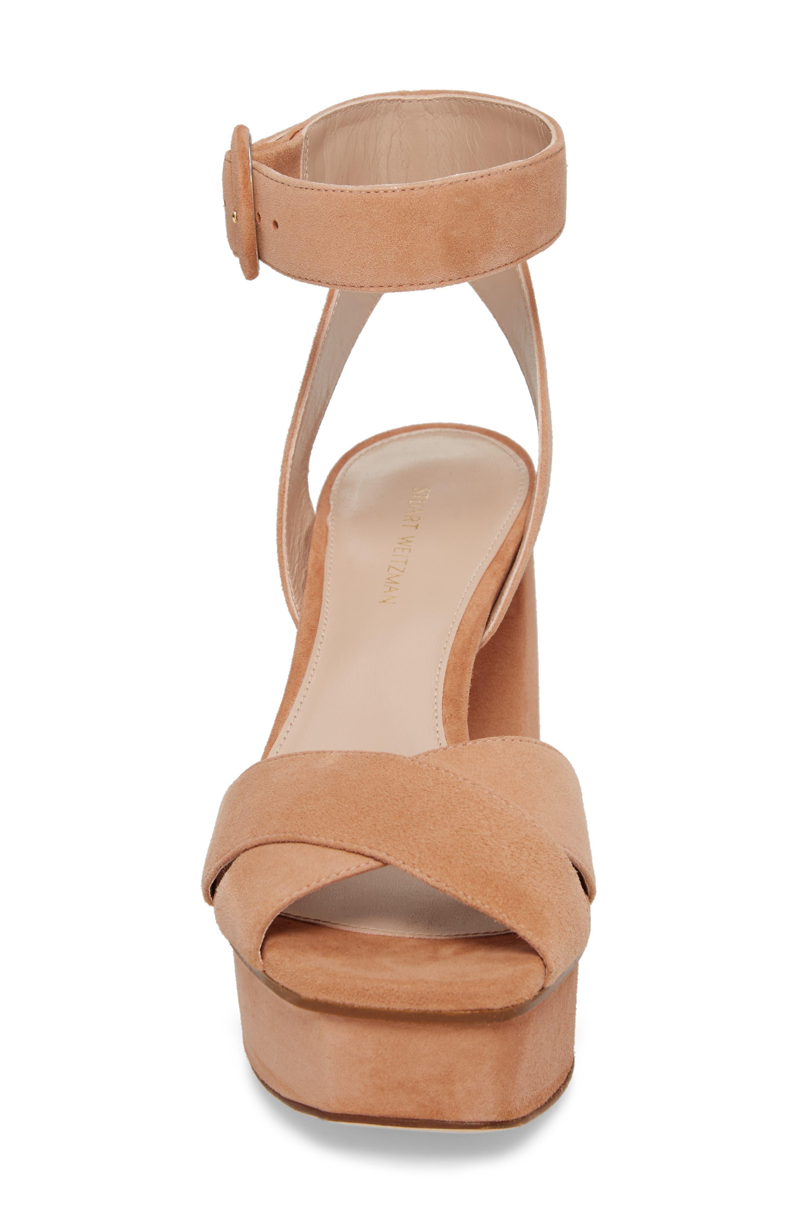 Carmina Ankle Strap Platform Sandal,                             Alternate thumbnail 4, color,                             Naked Seda Suede
