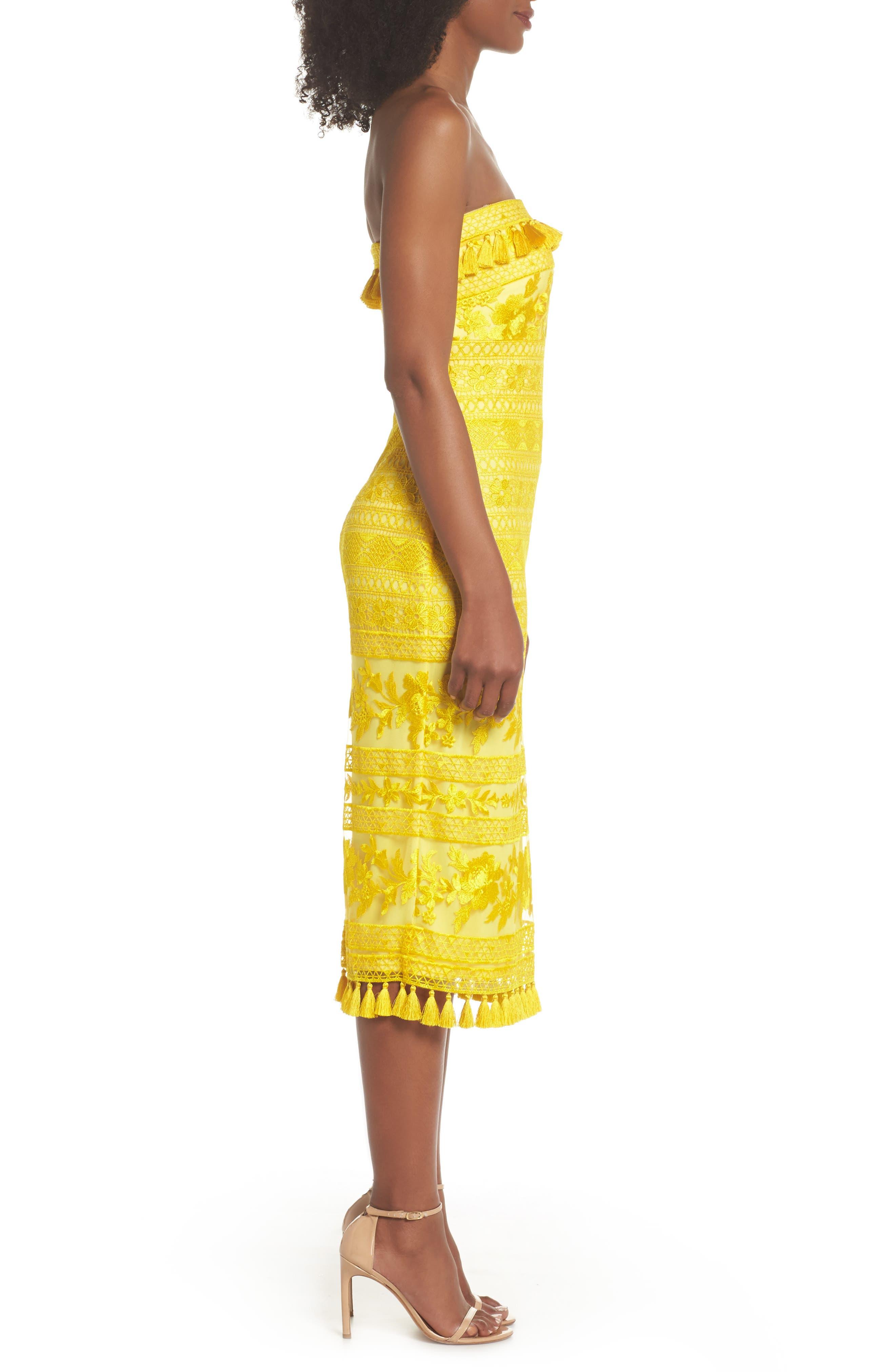 Sol Strapless Lace Midi Dress,                             Alternate thumbnail 3, color,                             Yellow Opal