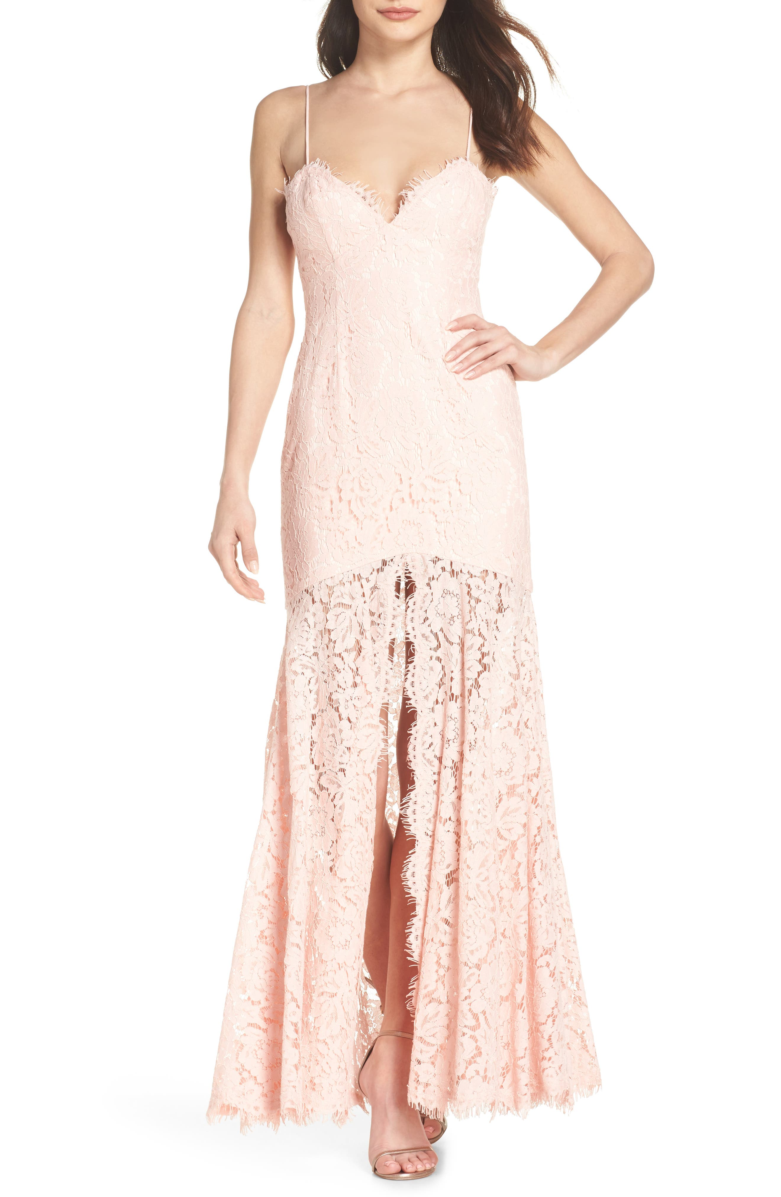 Babe Lace Gown,                         Main,                         color, Pale Pink