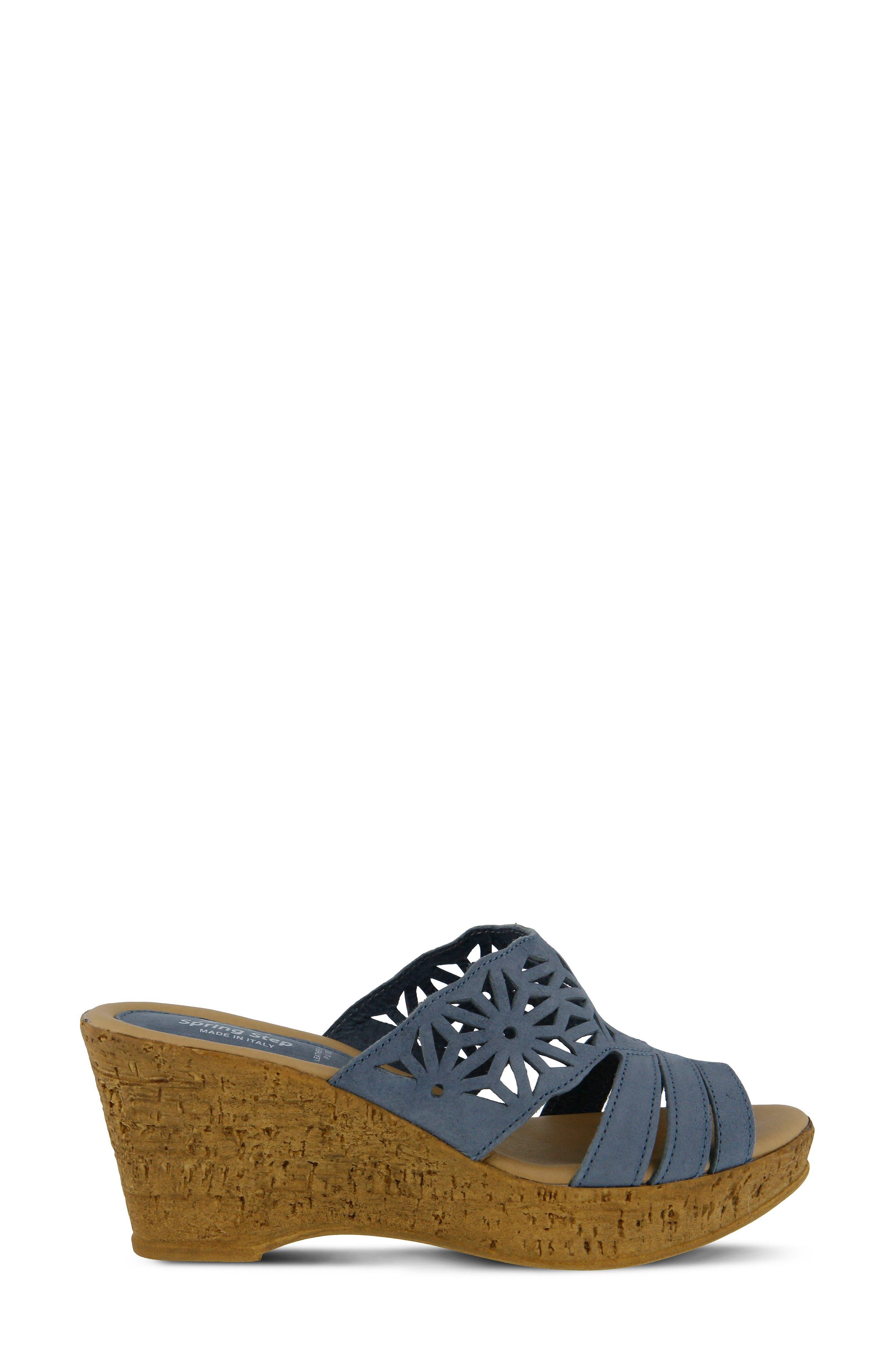 Dora Wedge Sandal,                             Alternate thumbnail 3, color,                             Blue Nubuck