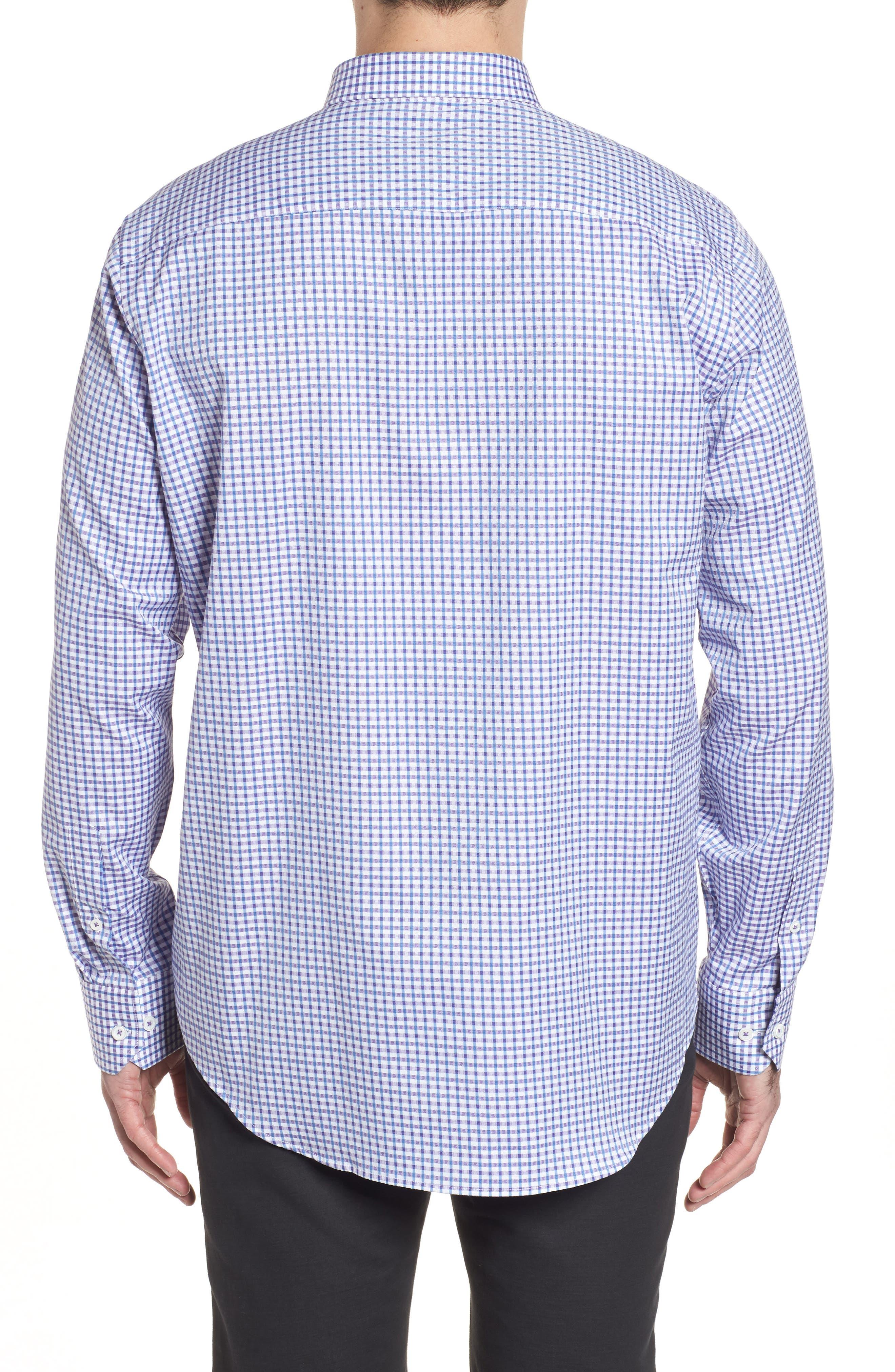 Classic Fit Microcheck Sport Shirt,                             Alternate thumbnail 2, color,                             Plum