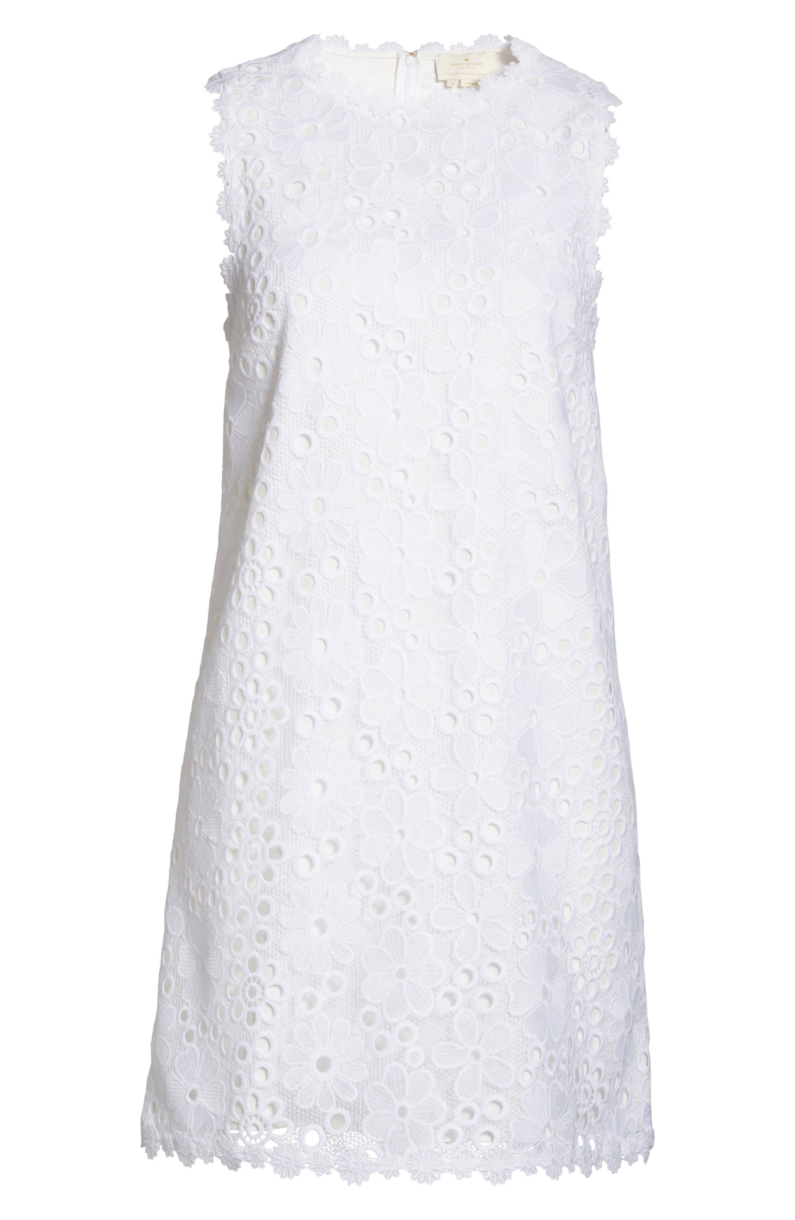 lace shift dress,                             Alternate thumbnail 6, color,                             Fresh White