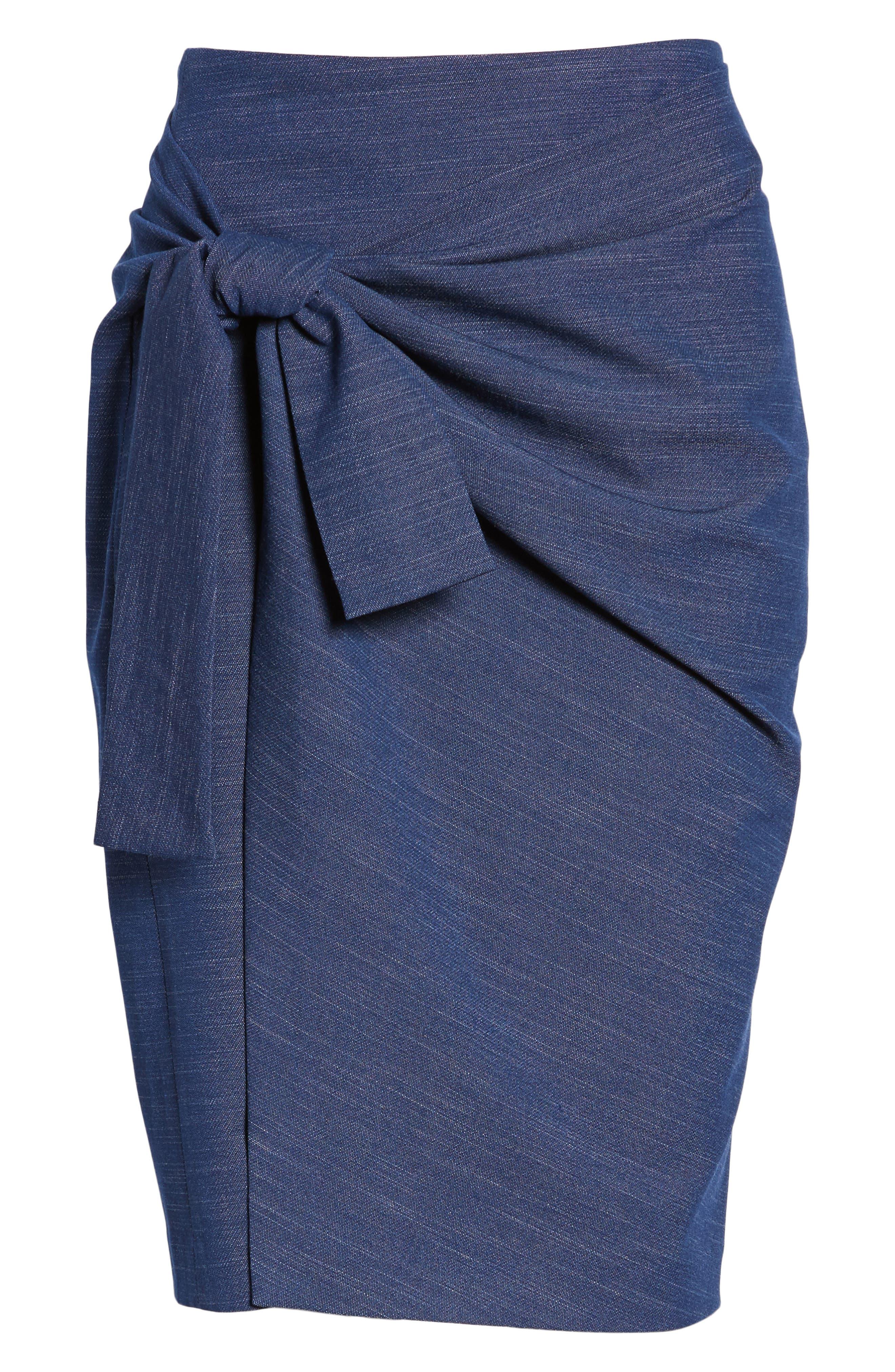 Side Tie Pencil Skirt,                             Alternate thumbnail 6, color,                             Dark Chambray