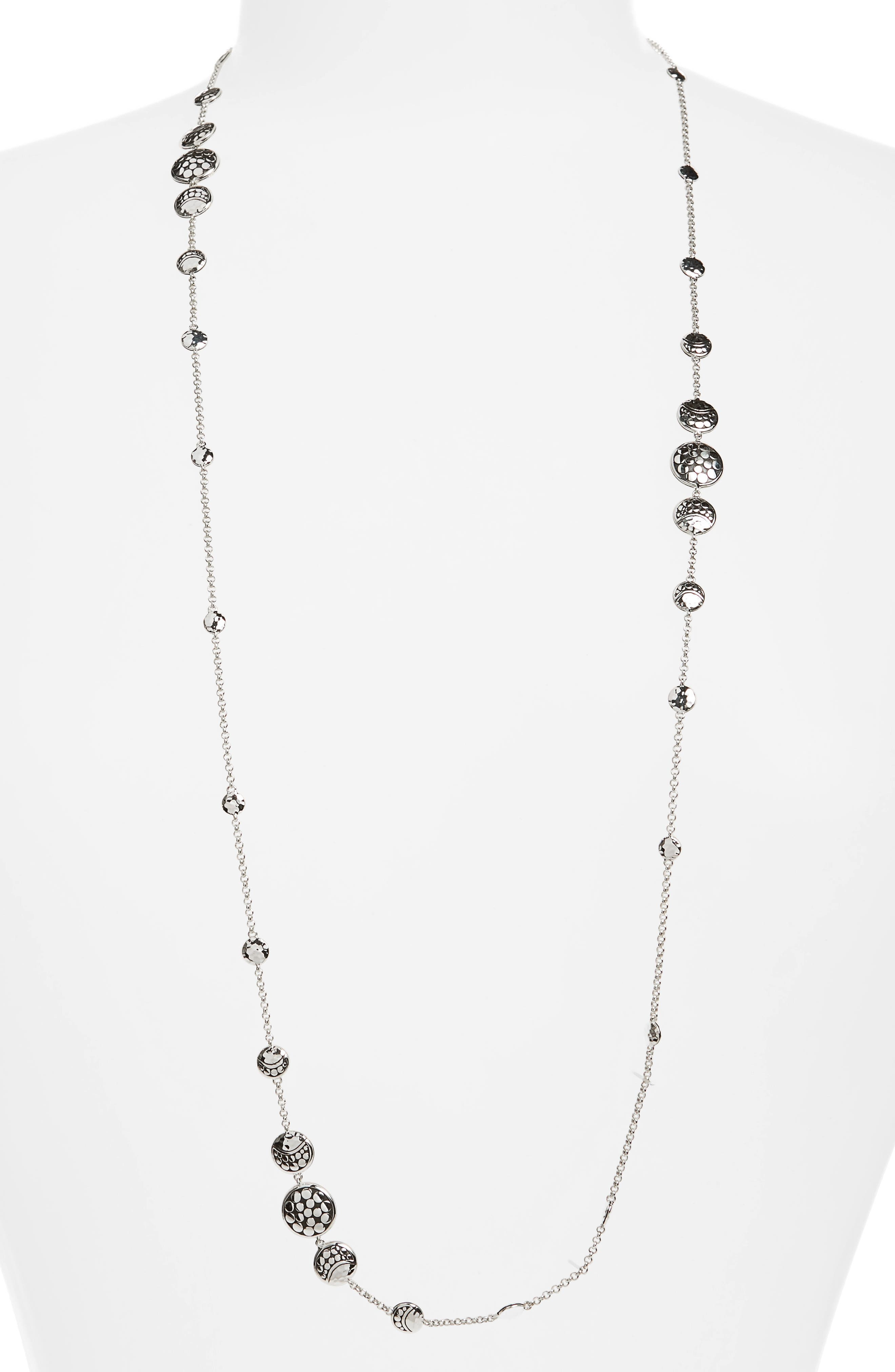 Dot Hammered Silver Necklace,                         Main,                         color, Silver