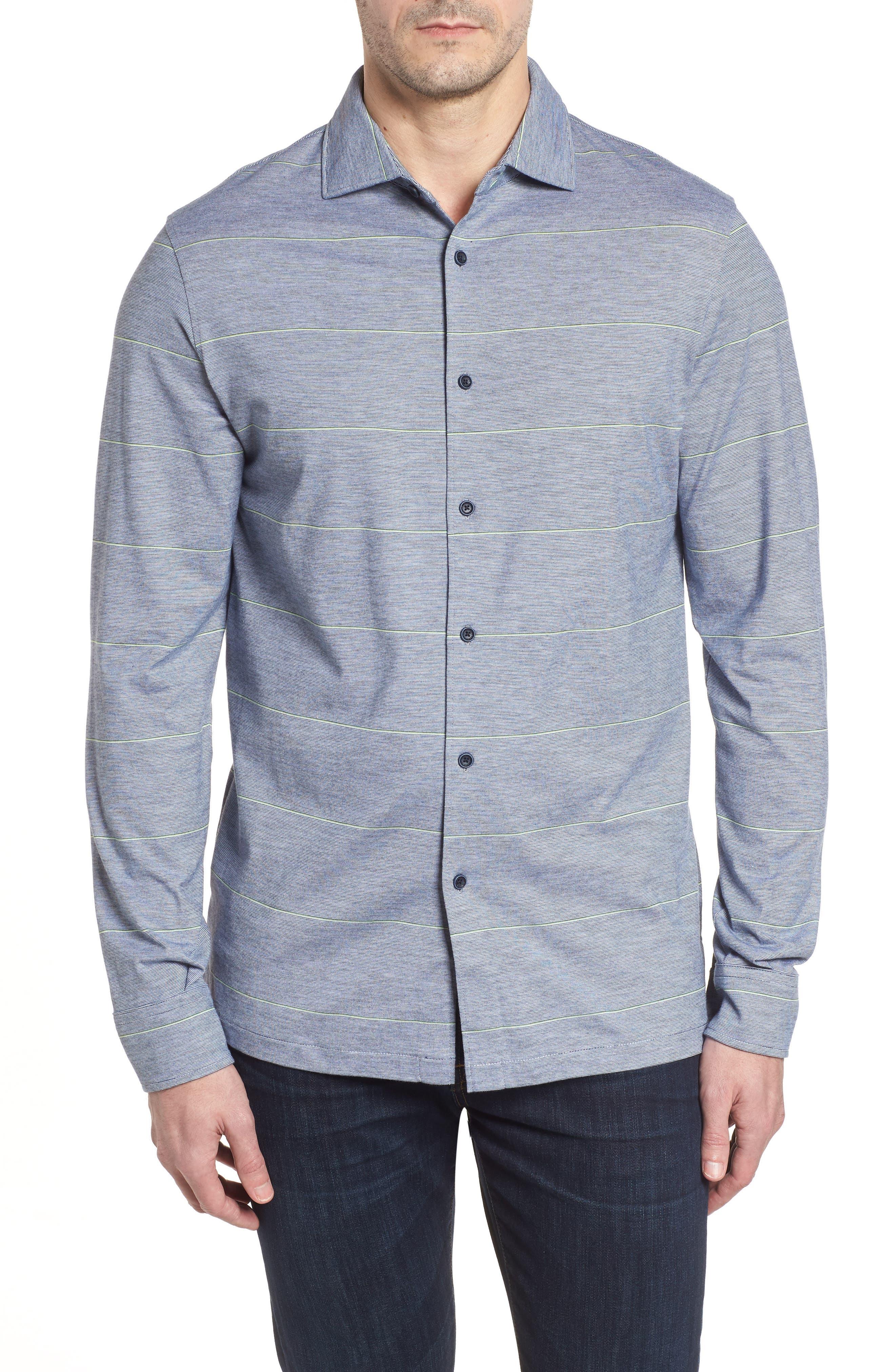 Regular Fit Stripe Knit Sport Shirt,                             Main thumbnail 1, color,                             Platinum