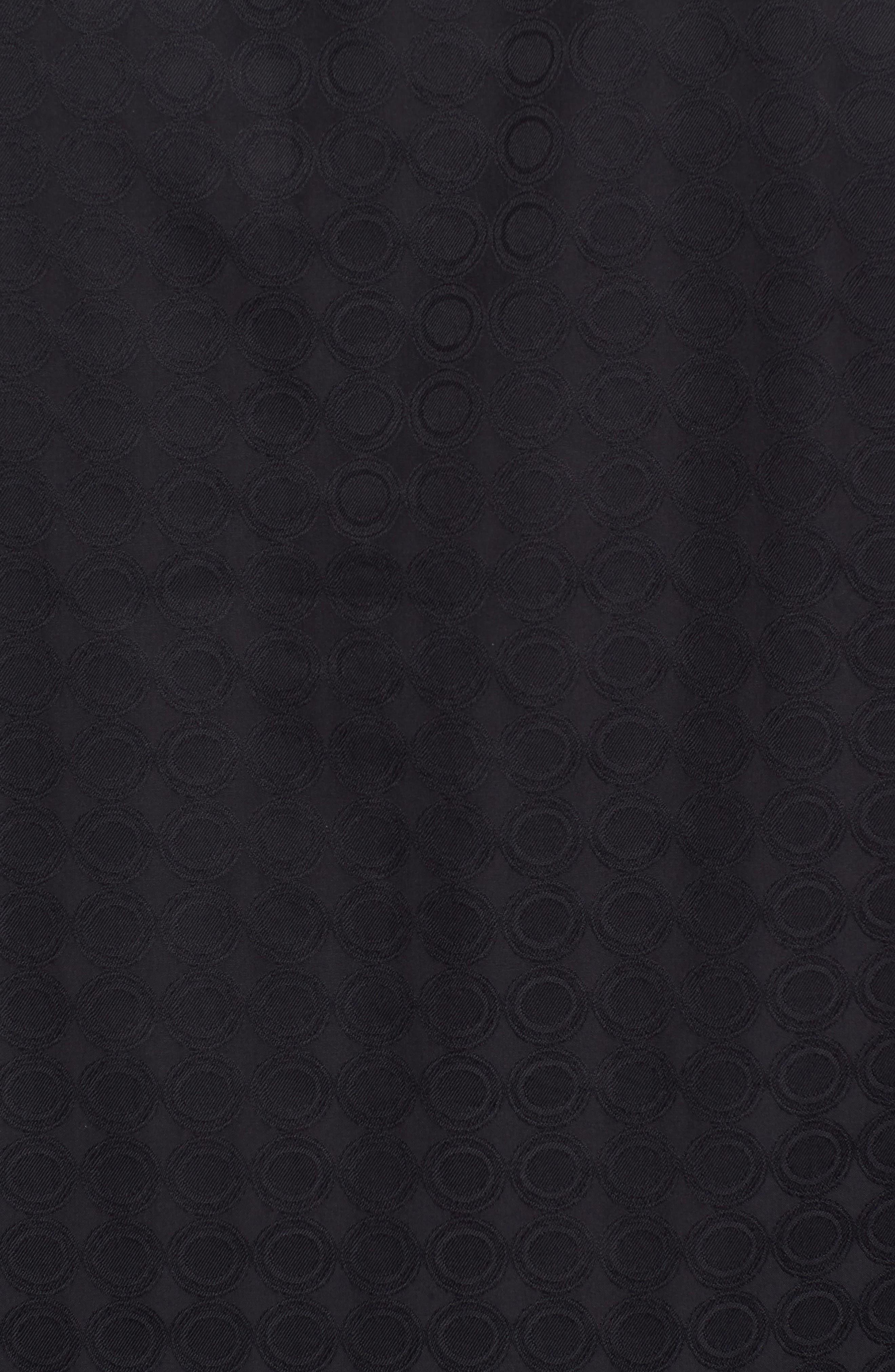 Shaped Fit Circle Print Sport Shirt,                             Alternate thumbnail 5, color,                             Black
