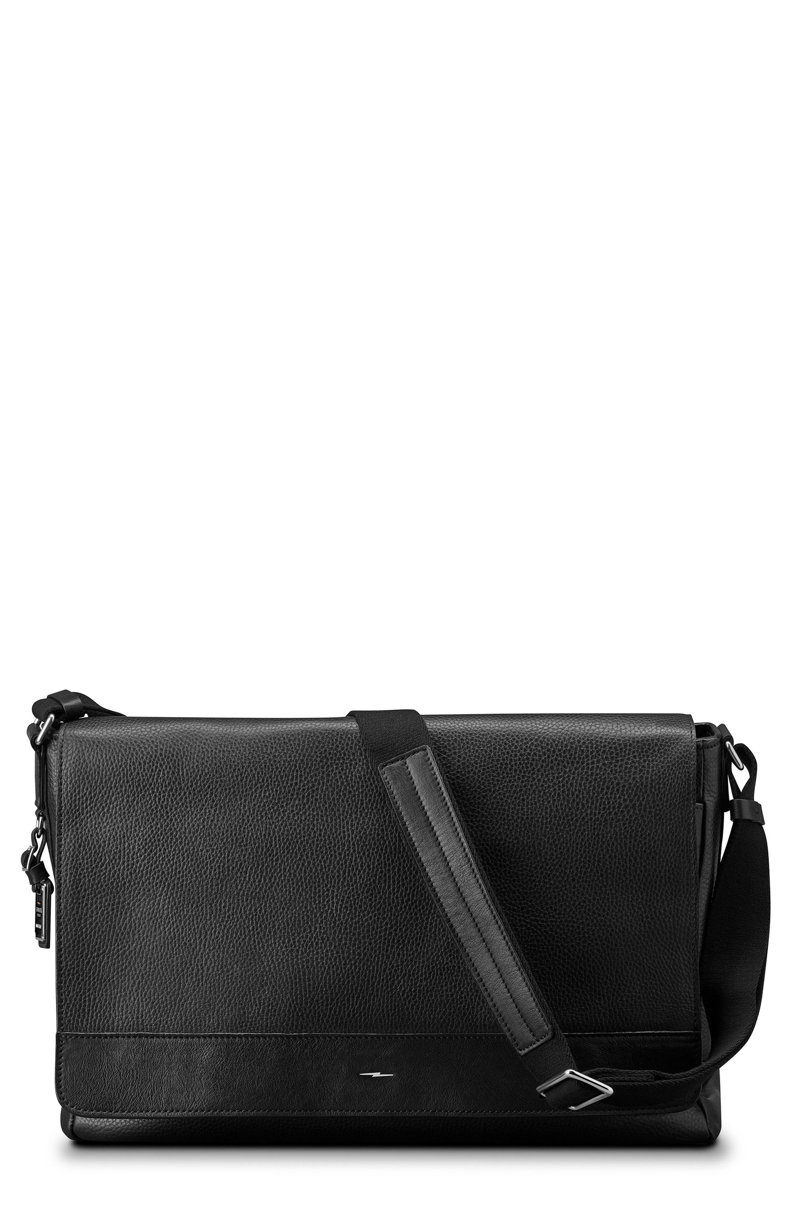 Luxe Grain Canfield Leather Messenger Bag,                             Main thumbnail 1, color,                             Black