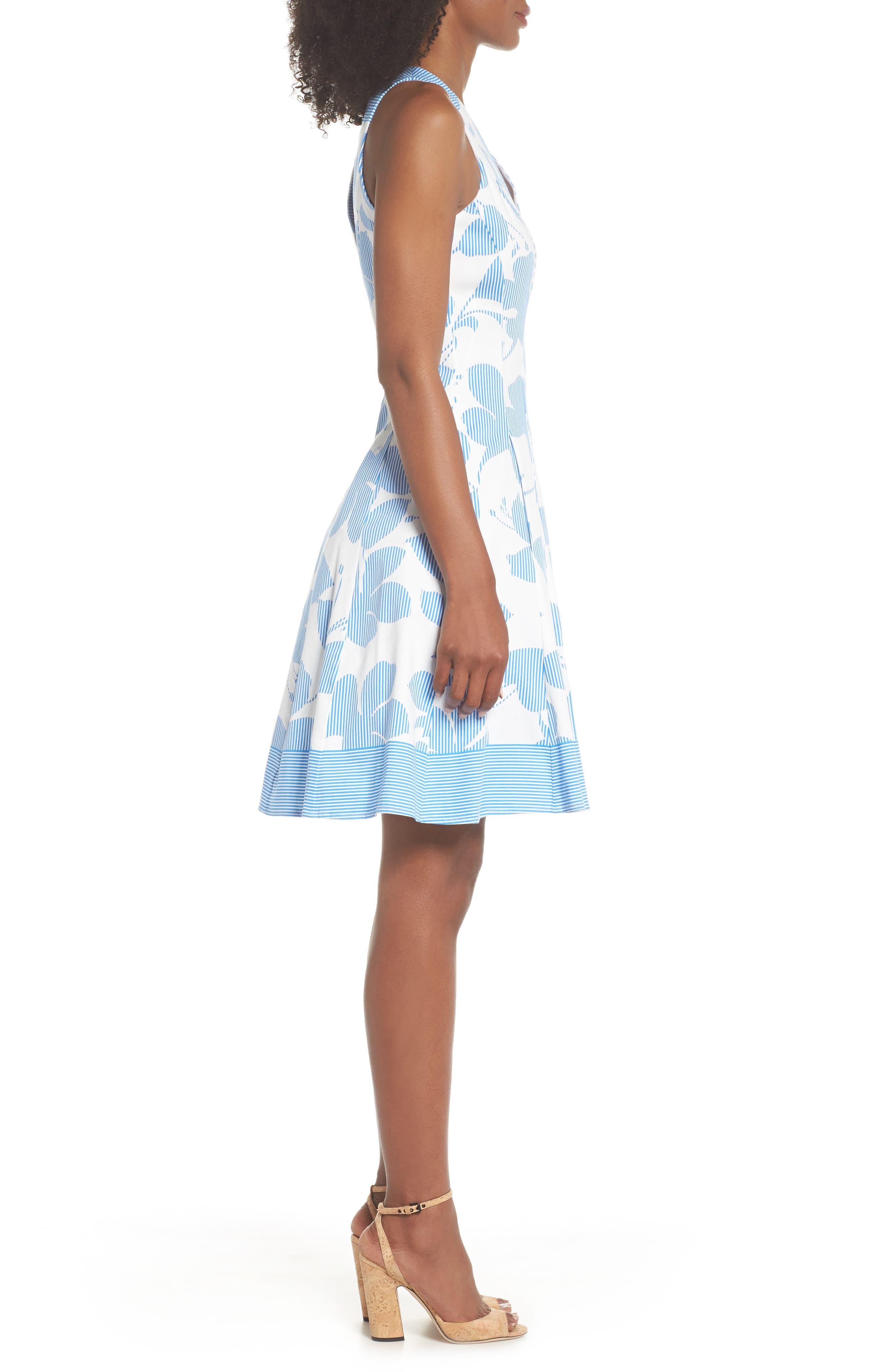 Print Fit & Flare Dress,                             Alternate thumbnail 3, color,                             Soft White/ Sky Blue