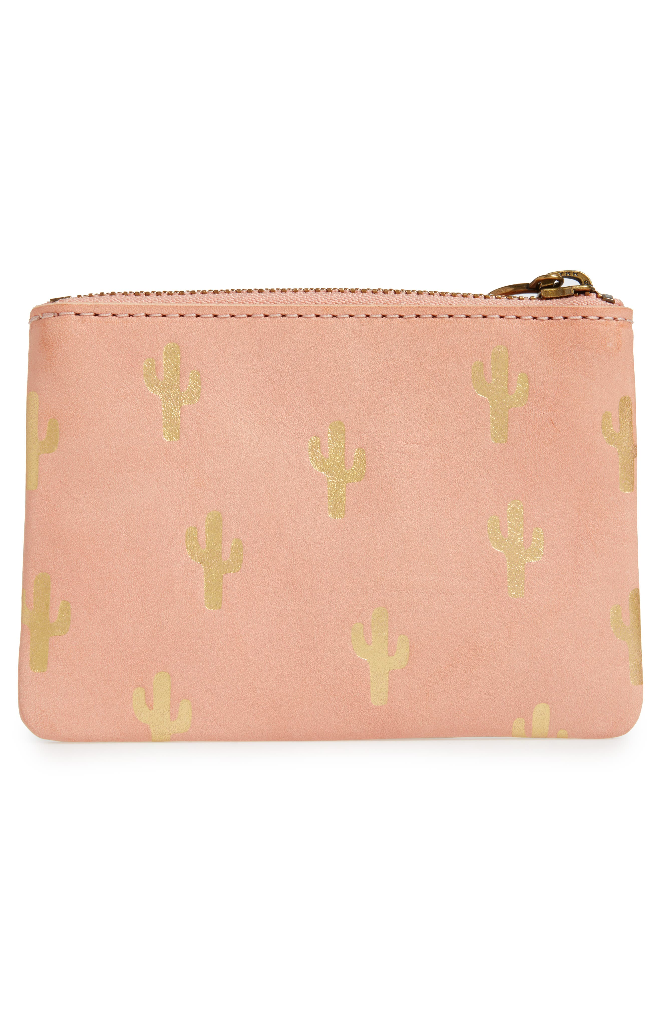 The Leather Pouch Wallet: Embossed Cactus Edition,                             Alternate thumbnail 3, color,                             Petal Pink