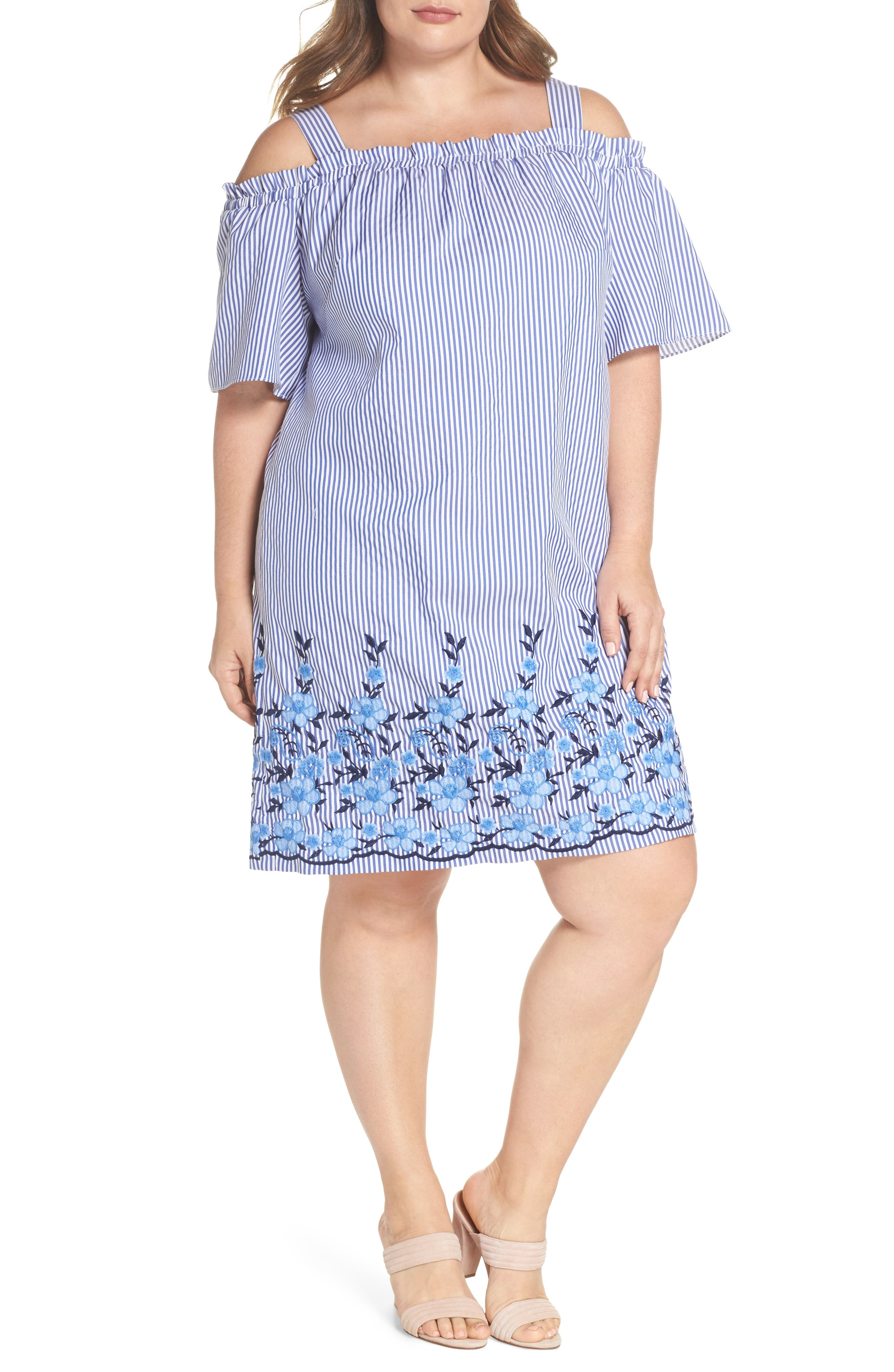Embroidered Hem Stripe Off the Shoulder Shift Dress,                             Main thumbnail 1, color,                             Blue/ White