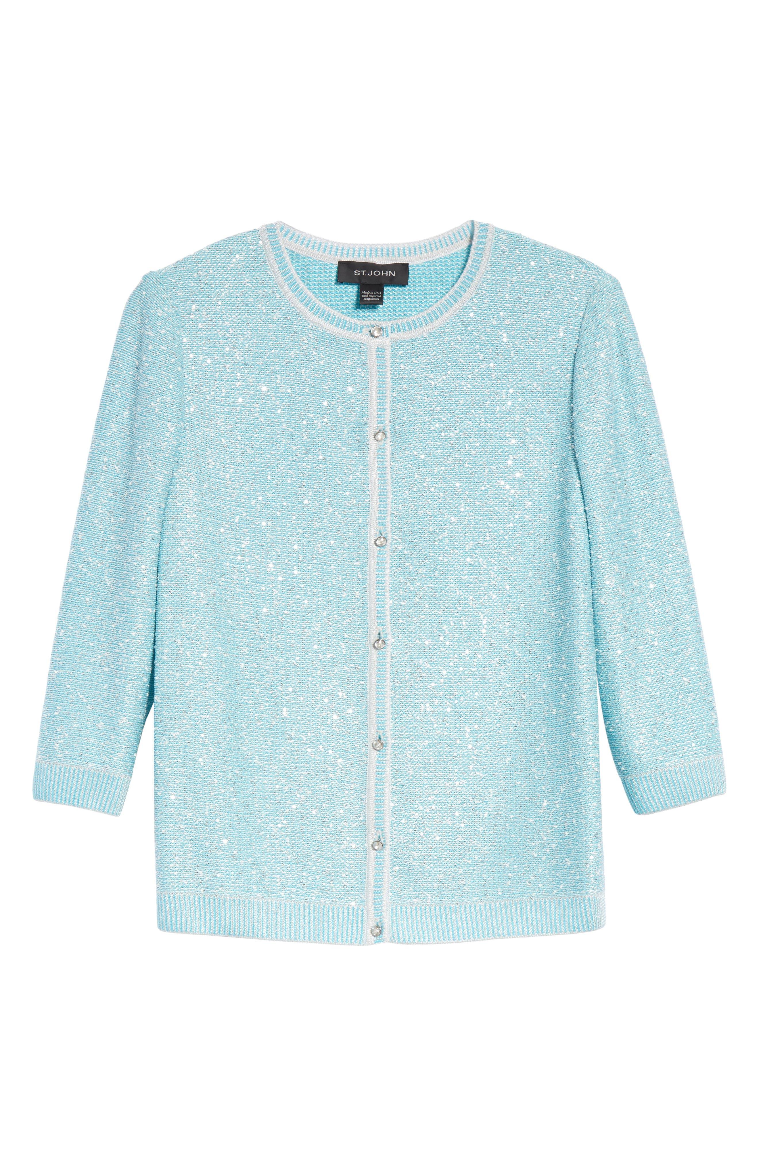 Flecked Sparkle Knit Cardigan,                             Alternate thumbnail 6, color,                             Aqua Multi