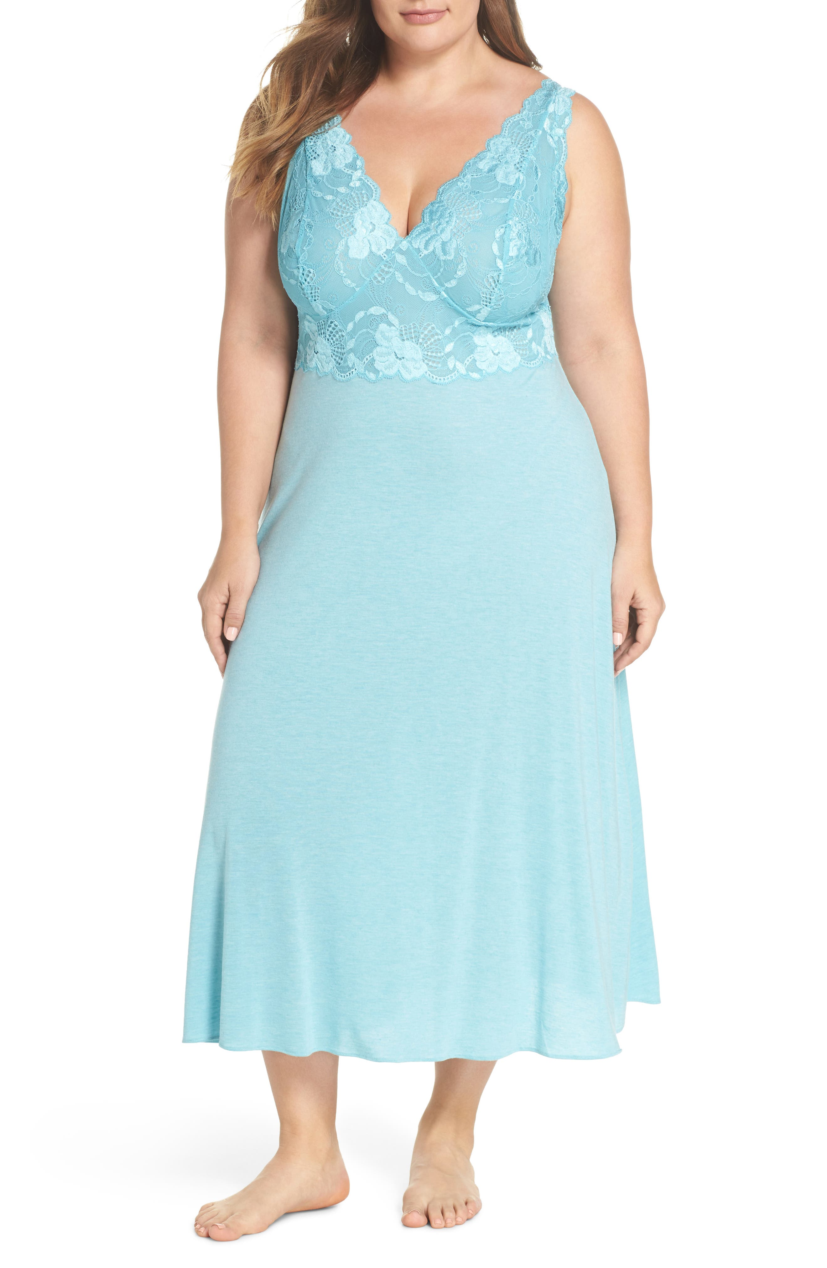 Natori 'Zen Floral' Nightgown (Plus Size)