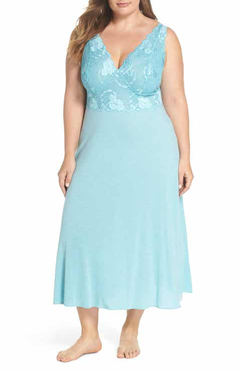 Natori 'Zen Floral' Nightgown (Plus Size)