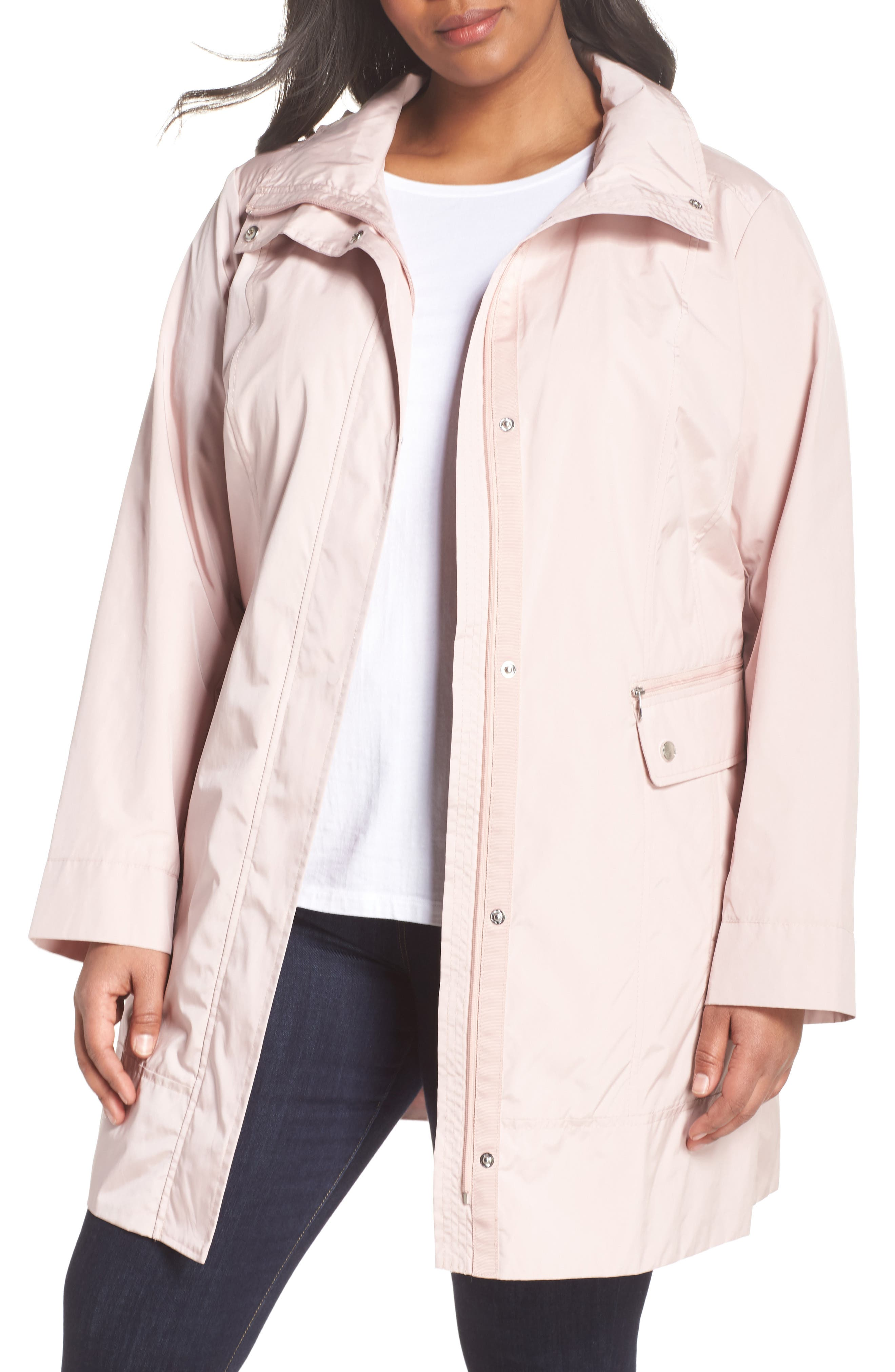 Cole Haan Water Resistant Rain Jacket,                         Main,                         color, Canyon Rose