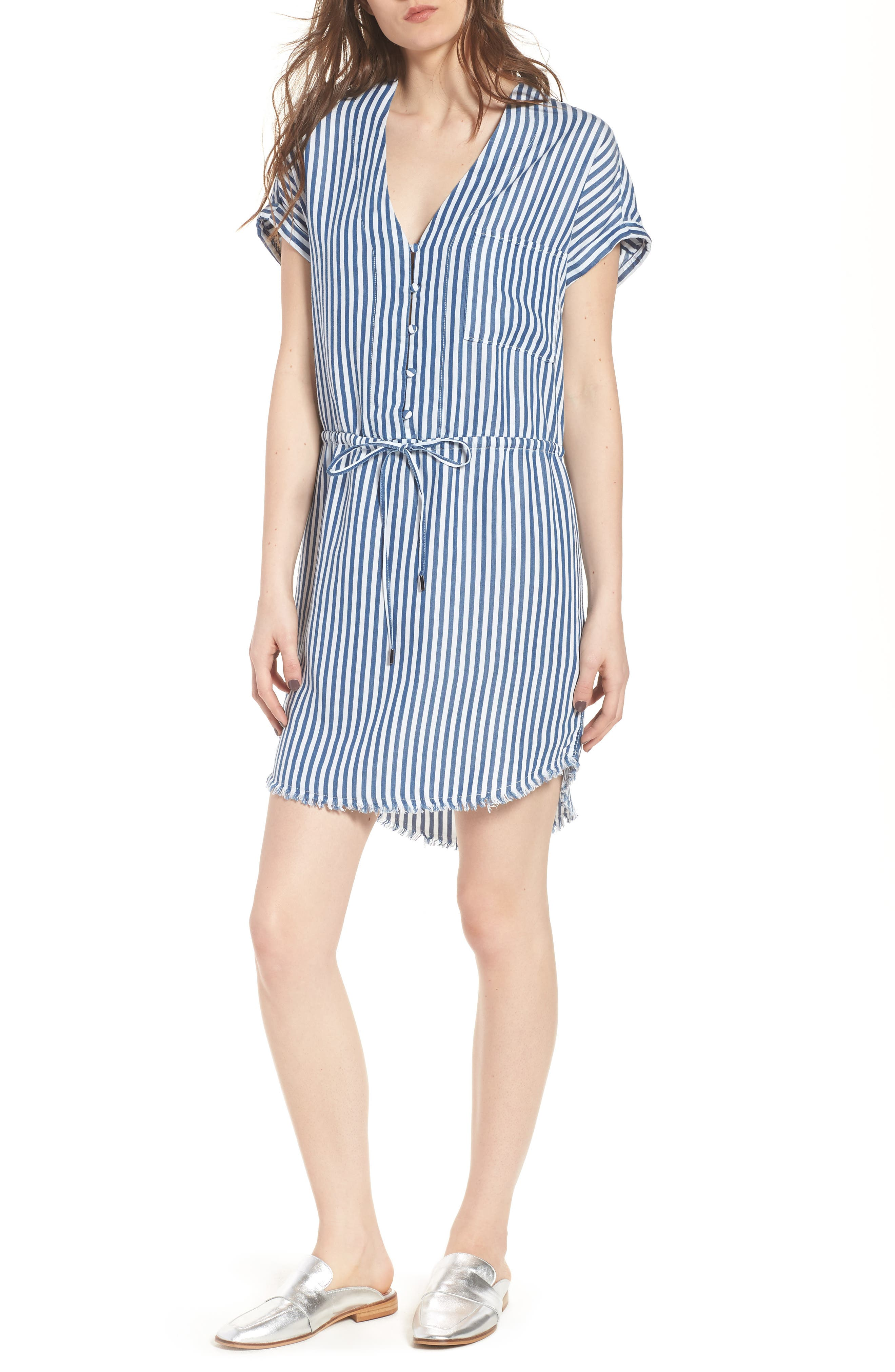 Haidee Stripe Shift Dress,                             Main thumbnail 1, color,                             White/ Blue Bell Stripe