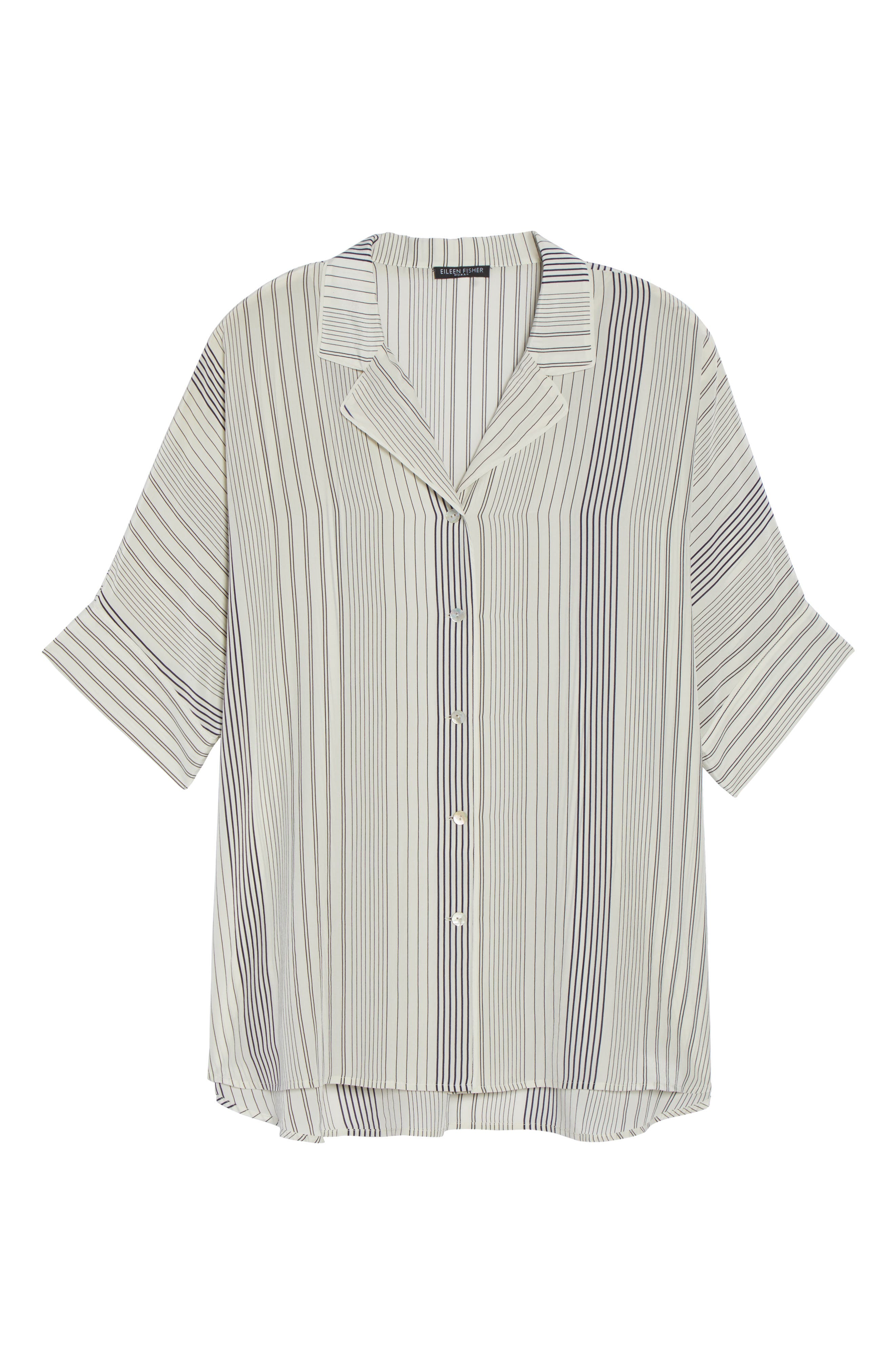 Stripe Silk Shirt,                             Alternate thumbnail 6, color,                             Bone