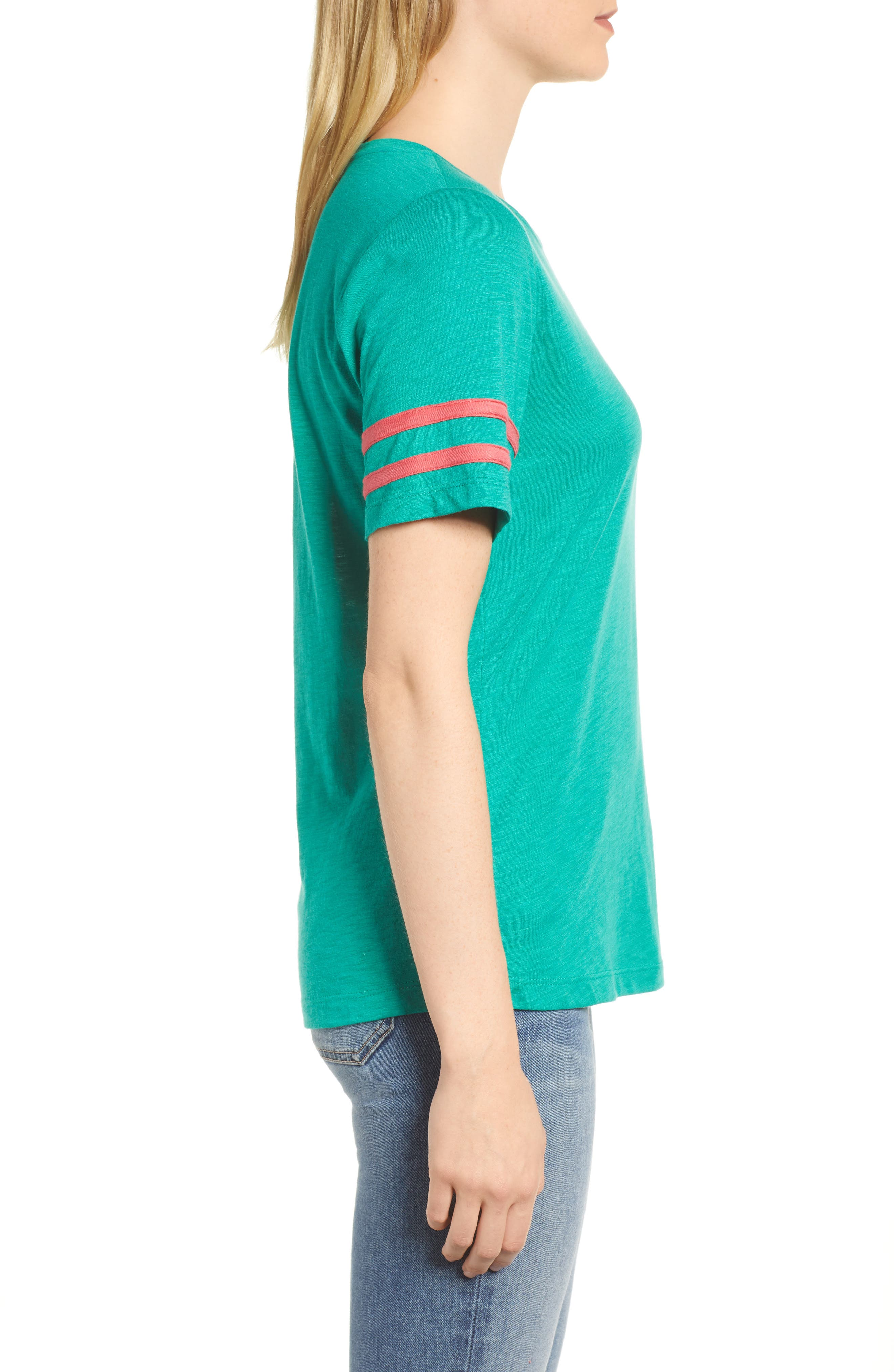 Stripe Sleeve Cotton Blend Athletic Tee,                             Alternate thumbnail 3, color,                             Green Lake With Pink