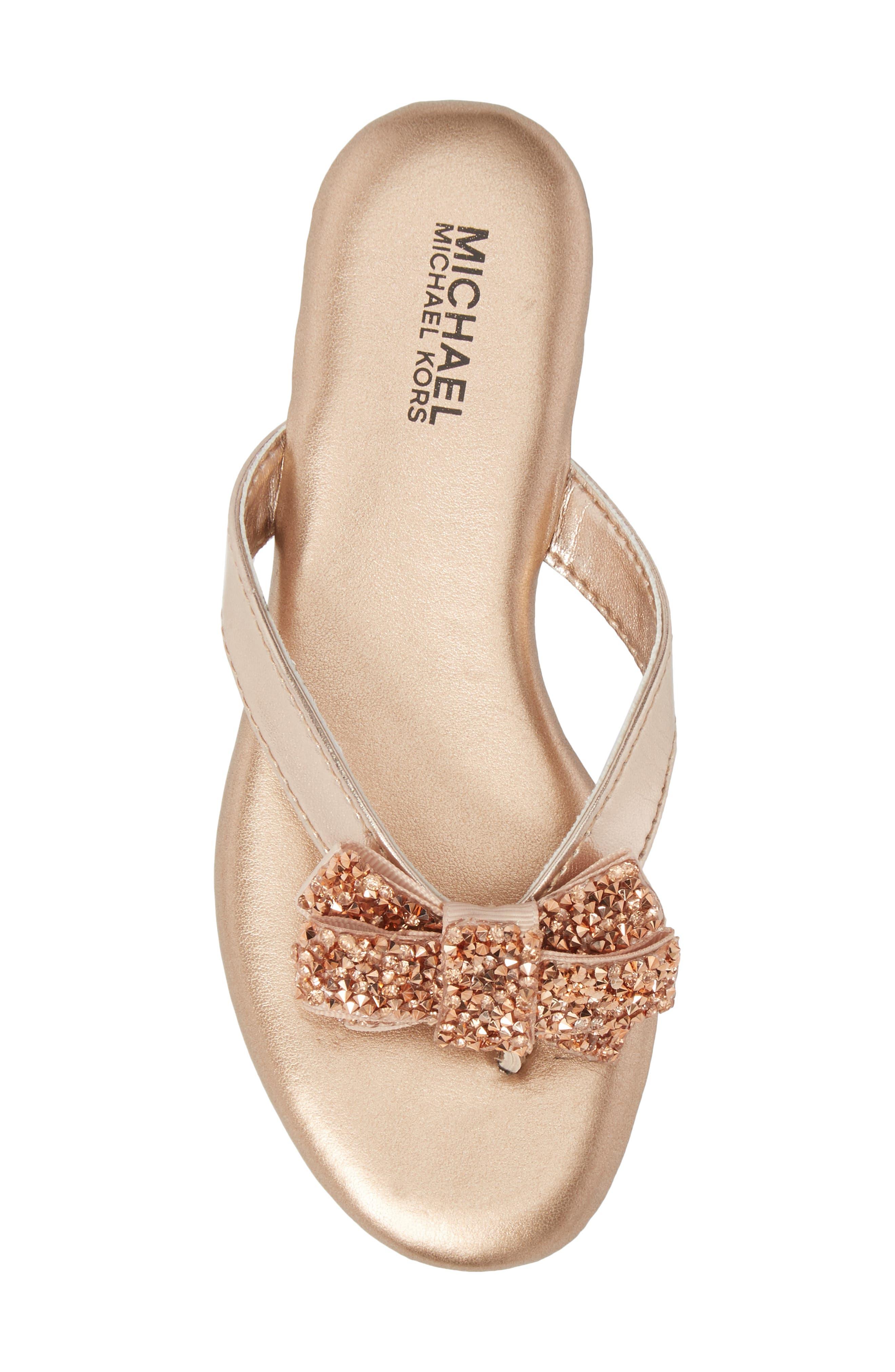 Embellished Bow Flip Flop,                             Alternate thumbnail 5, color,                             Rose Gold