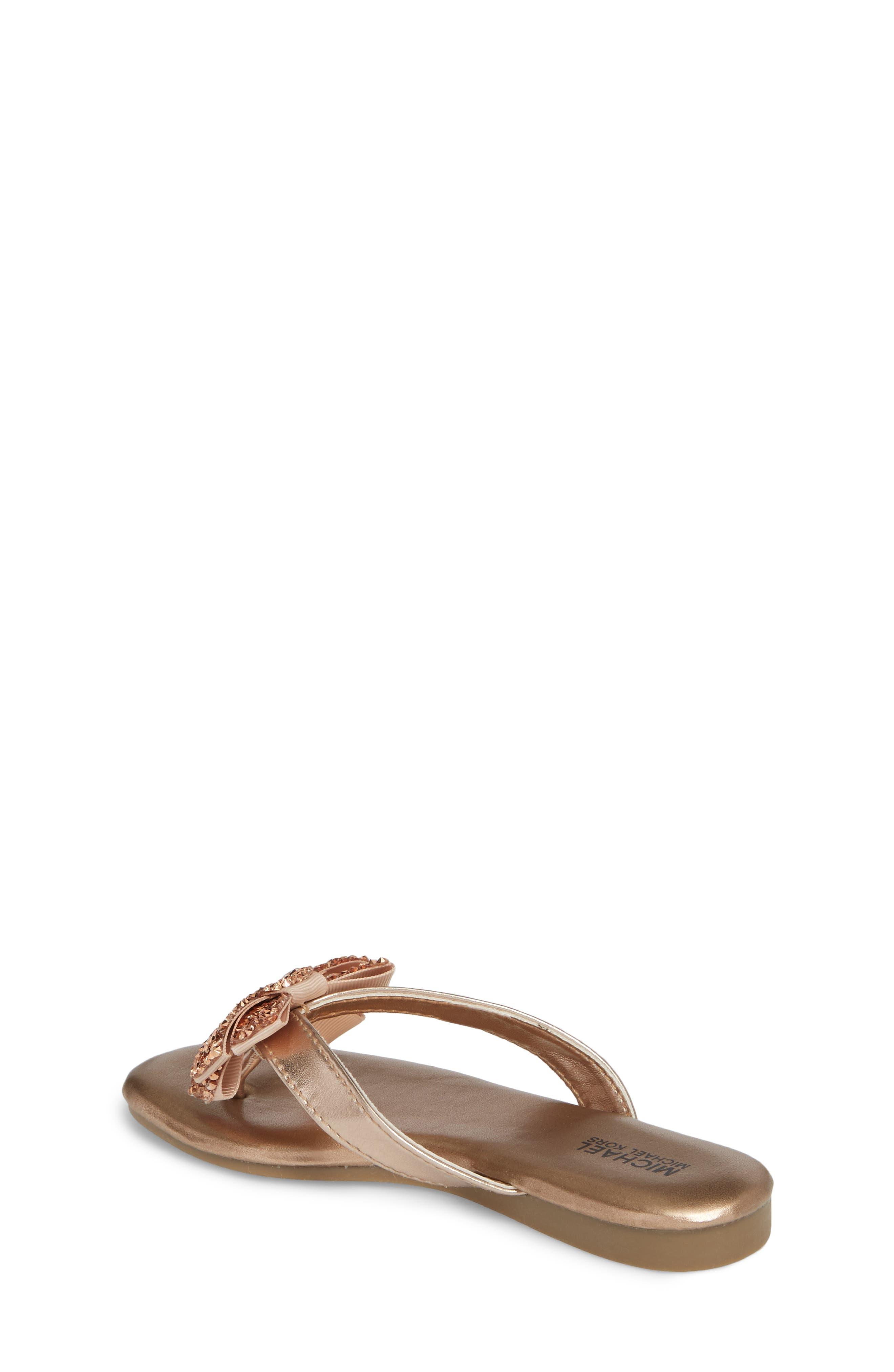 Embellished Bow Flip Flop,                             Alternate thumbnail 2, color,                             Rose Gold