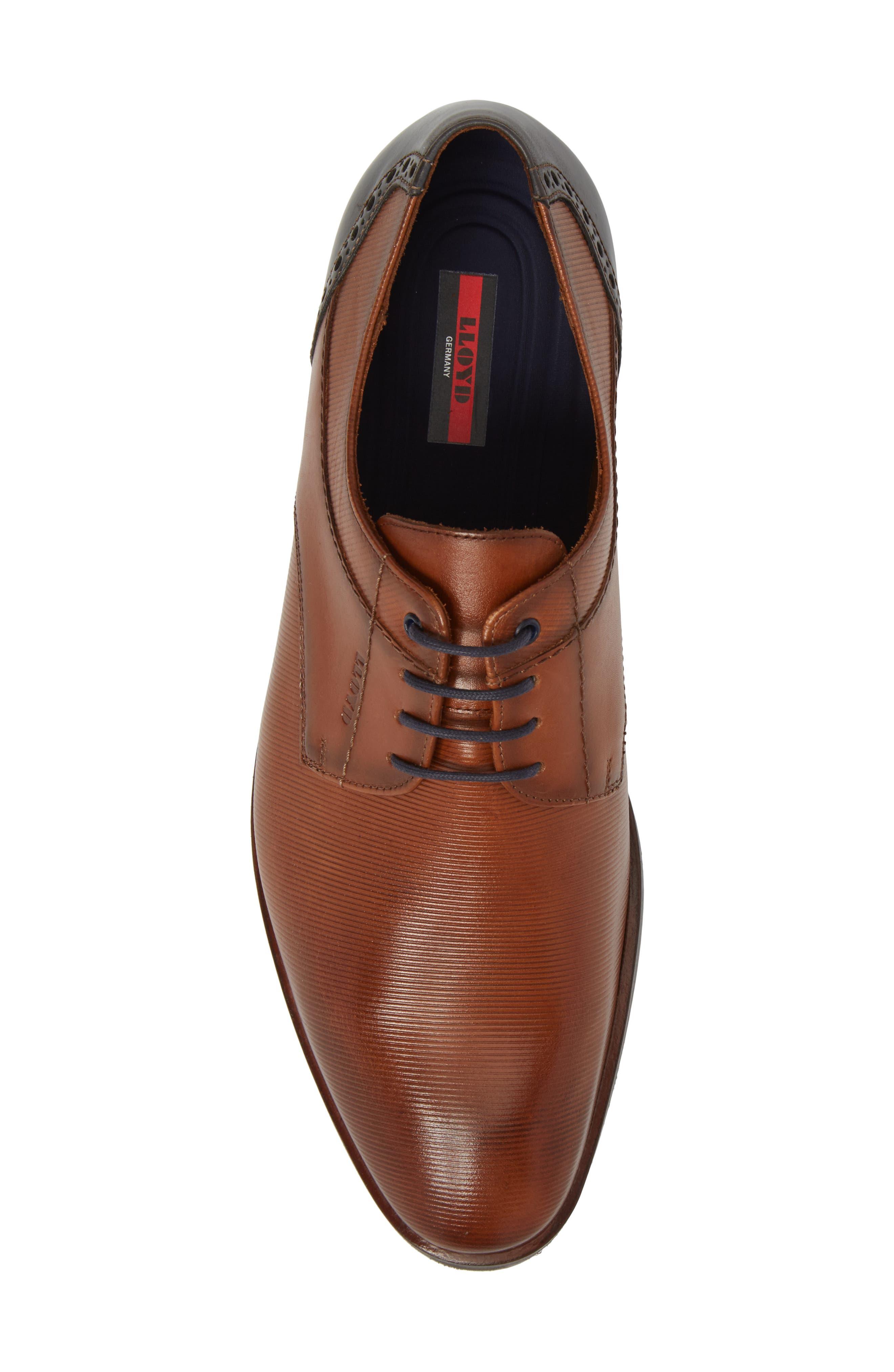 Hamilton Plain Toe Derby,                             Alternate thumbnail 5, color,                             Cognac Leather