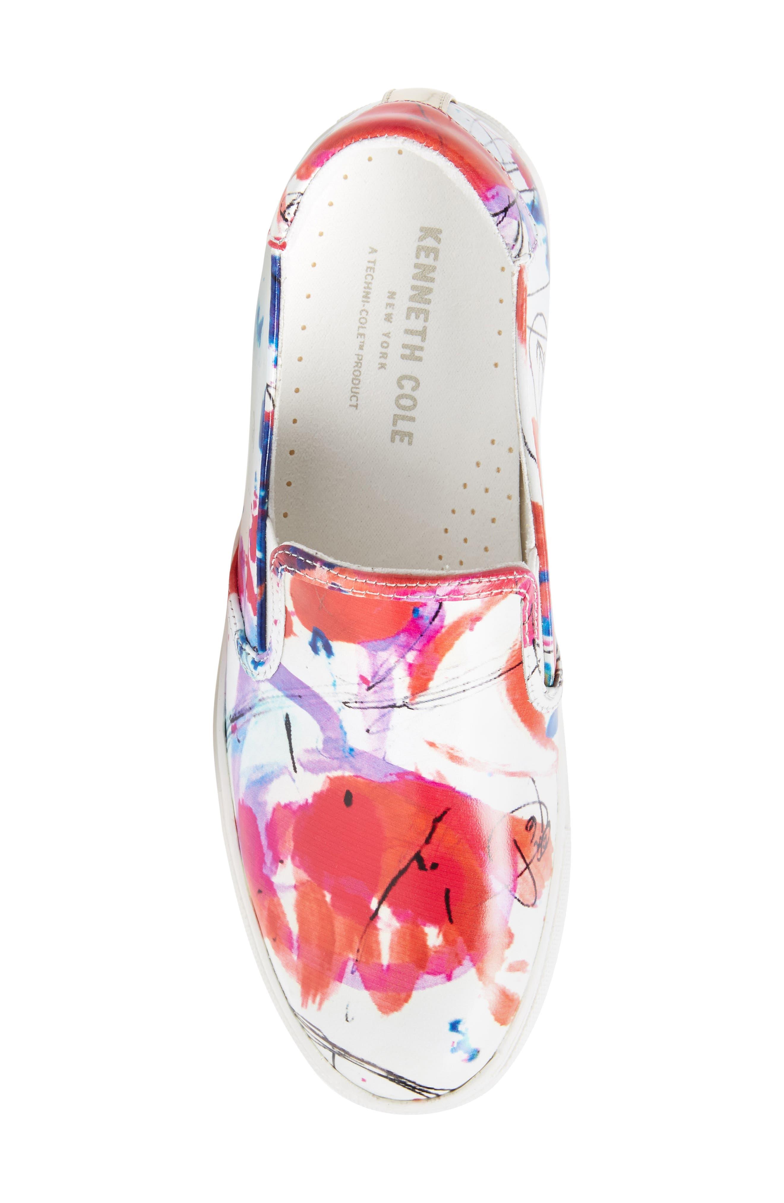 Joanie Slip-On Platform Sneaker,                             Alternate thumbnail 5, color,                             White Multi Print Leather