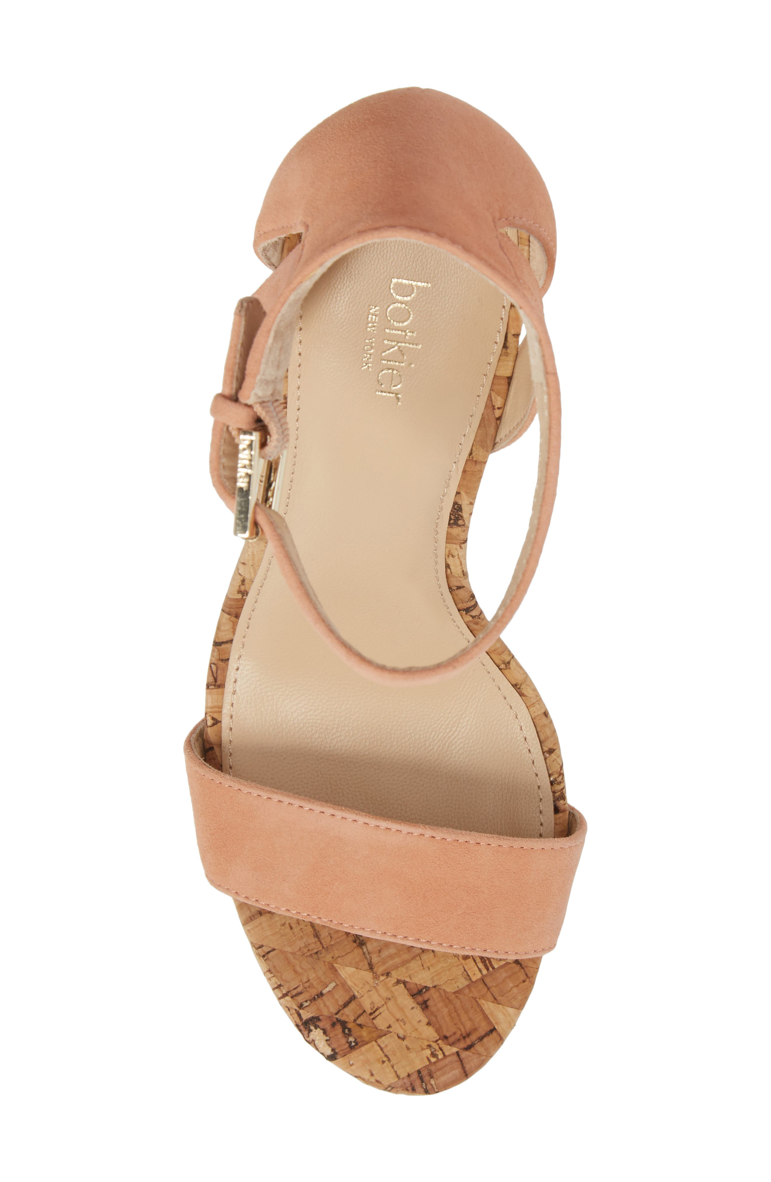 Gianna Ankle Strap Sandal,                             Alternate thumbnail 5, color,                             Soft Peach Suede