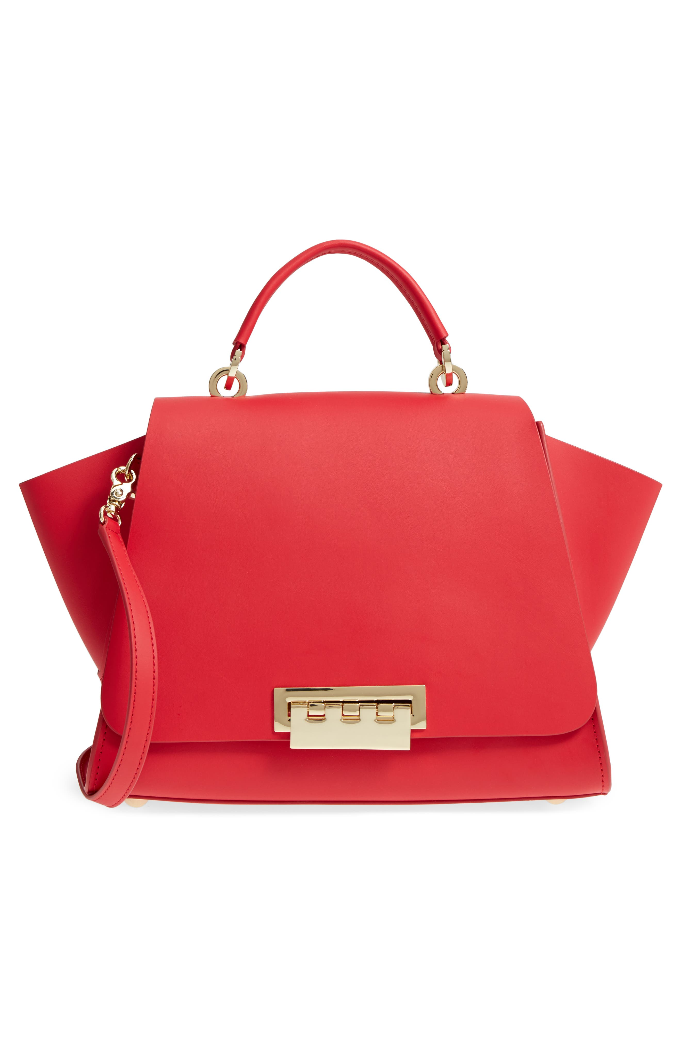 Eartha Iconic Calfskin Leather Top Handle Satchel,                             Alternate thumbnail 7, color,                             Red