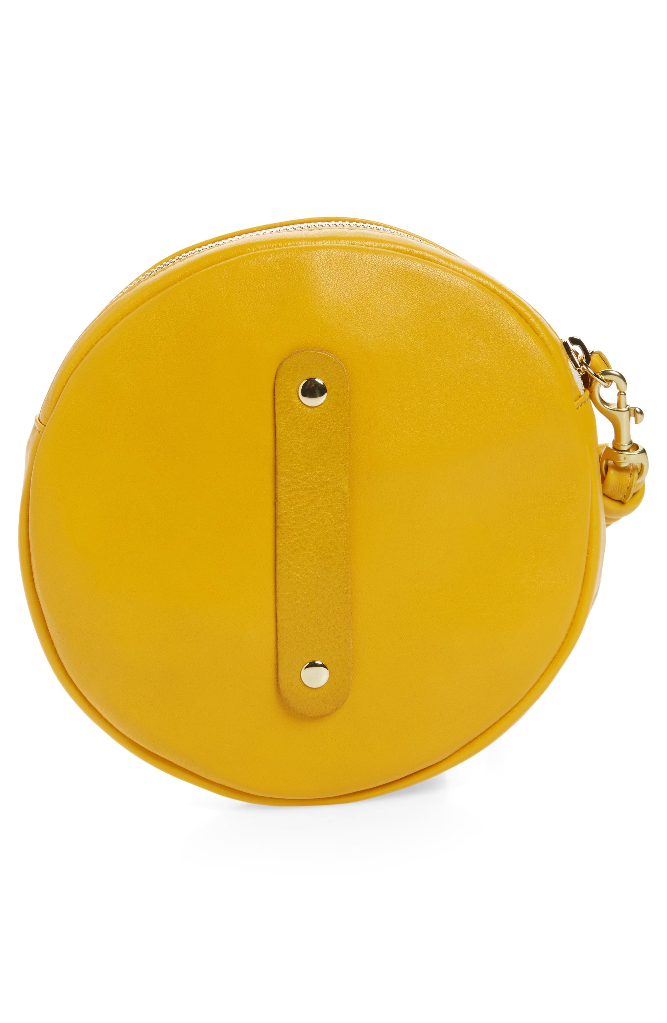 Lambskin Leather Circle Clutch,                             Alternate thumbnail 3, color,                             Yellow Golfa