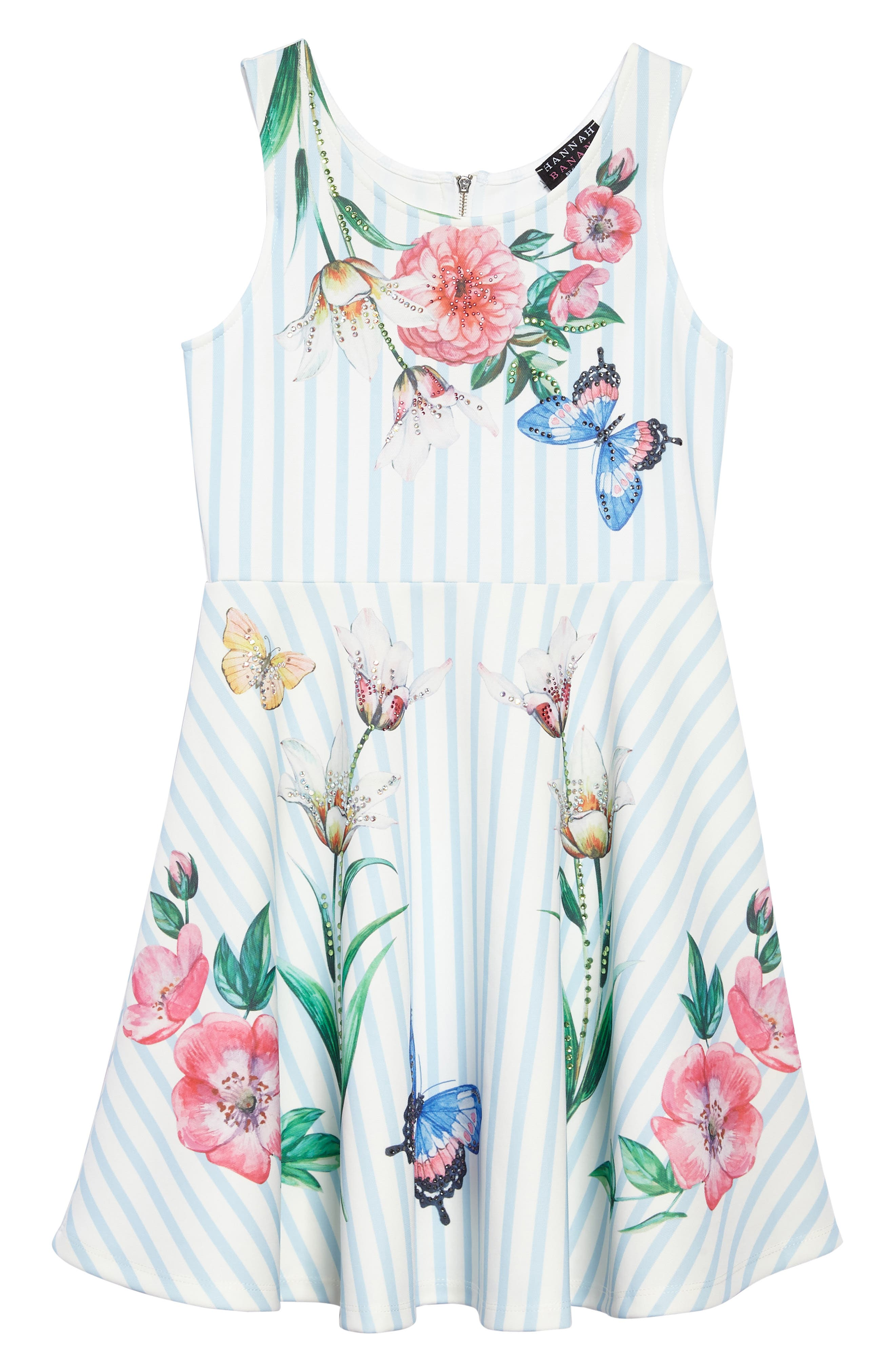 Stripe Floral Skater Dress,                             Main thumbnail 1, color,                             Blue/ White