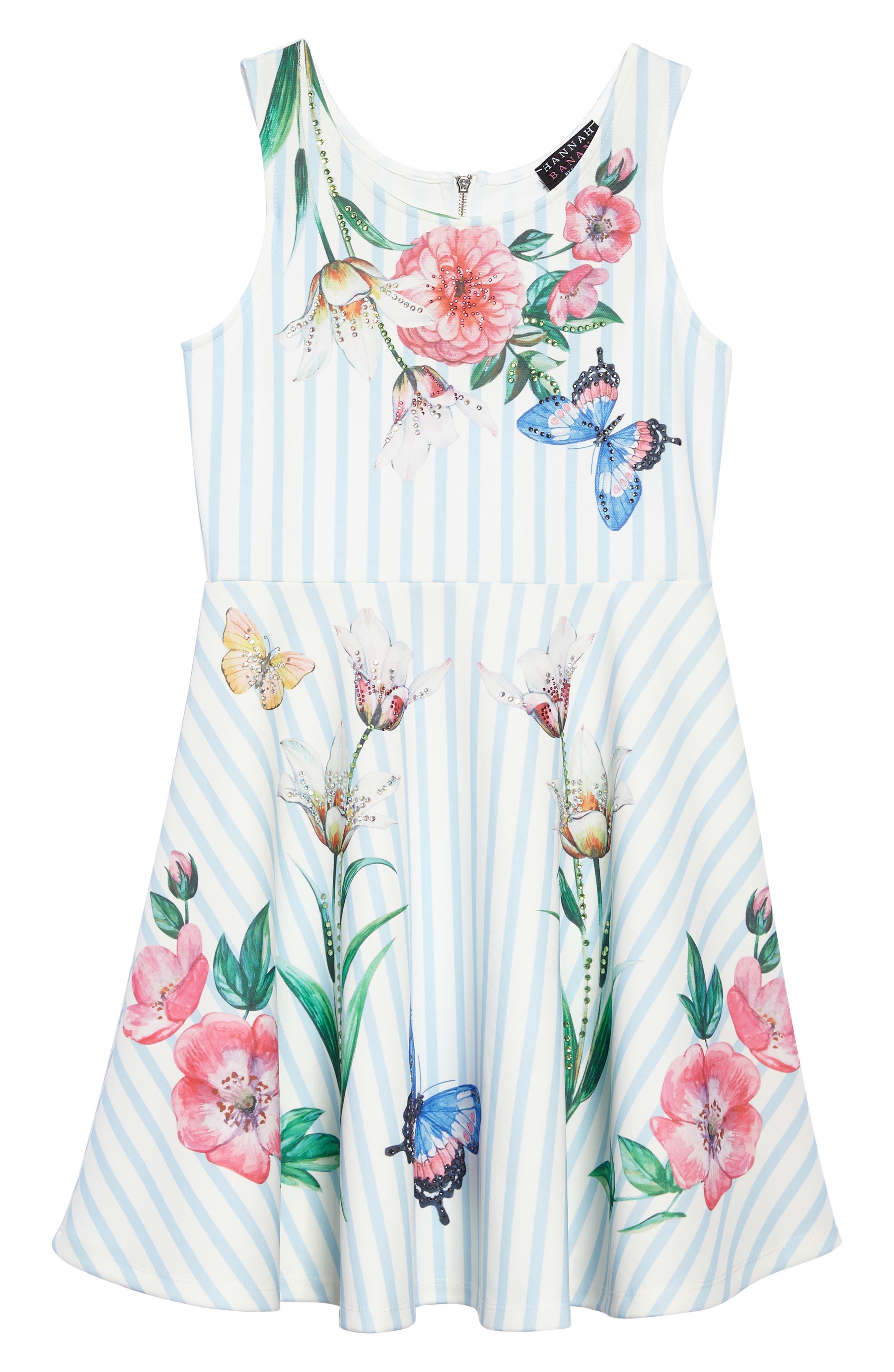 Hannah Banana Stripe Floral Skater Dress (Big Girls)