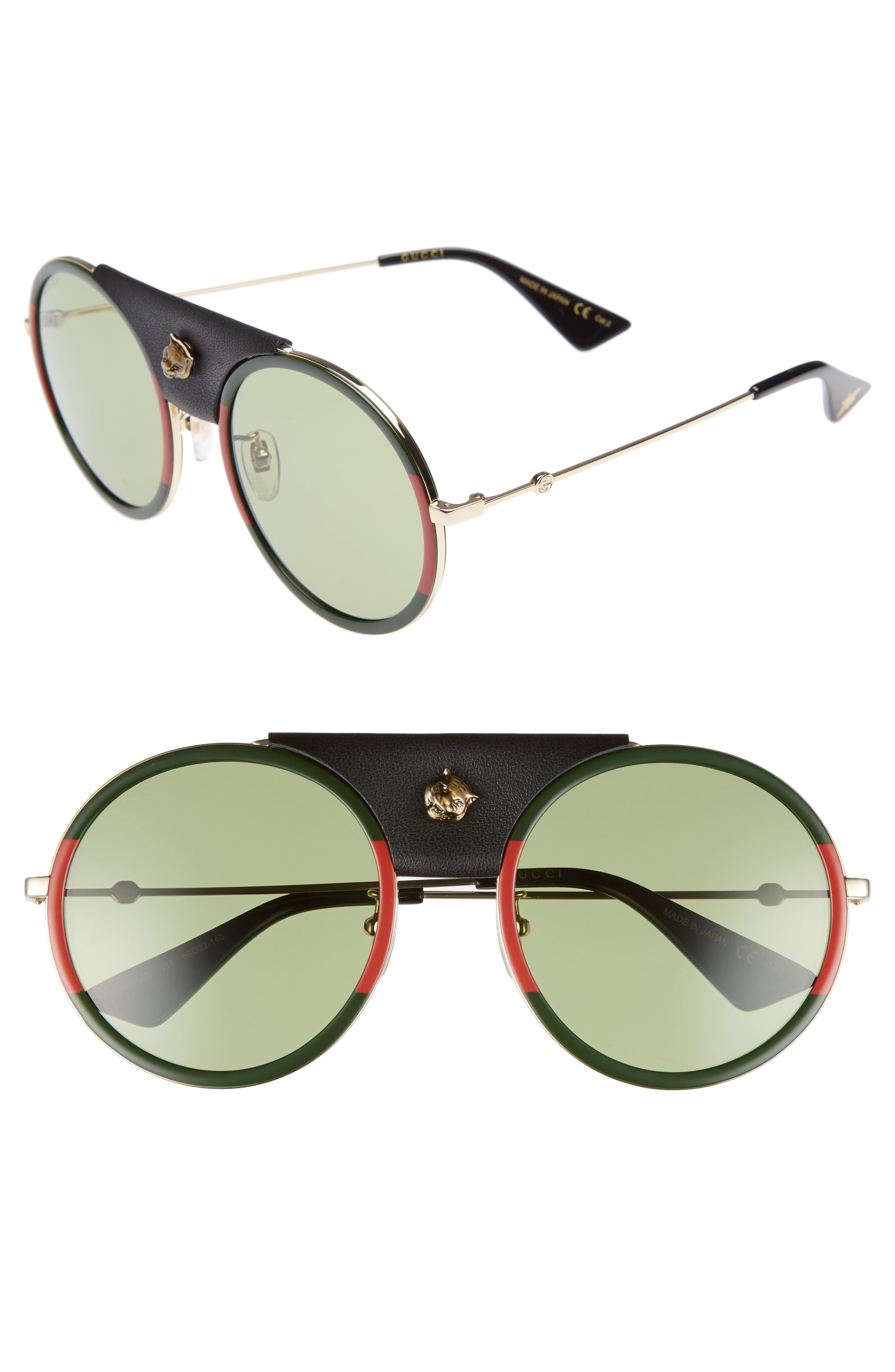 56mm Leather Bridge Aviator Sunglasses,                         Main,                         color, Gold/ Black
