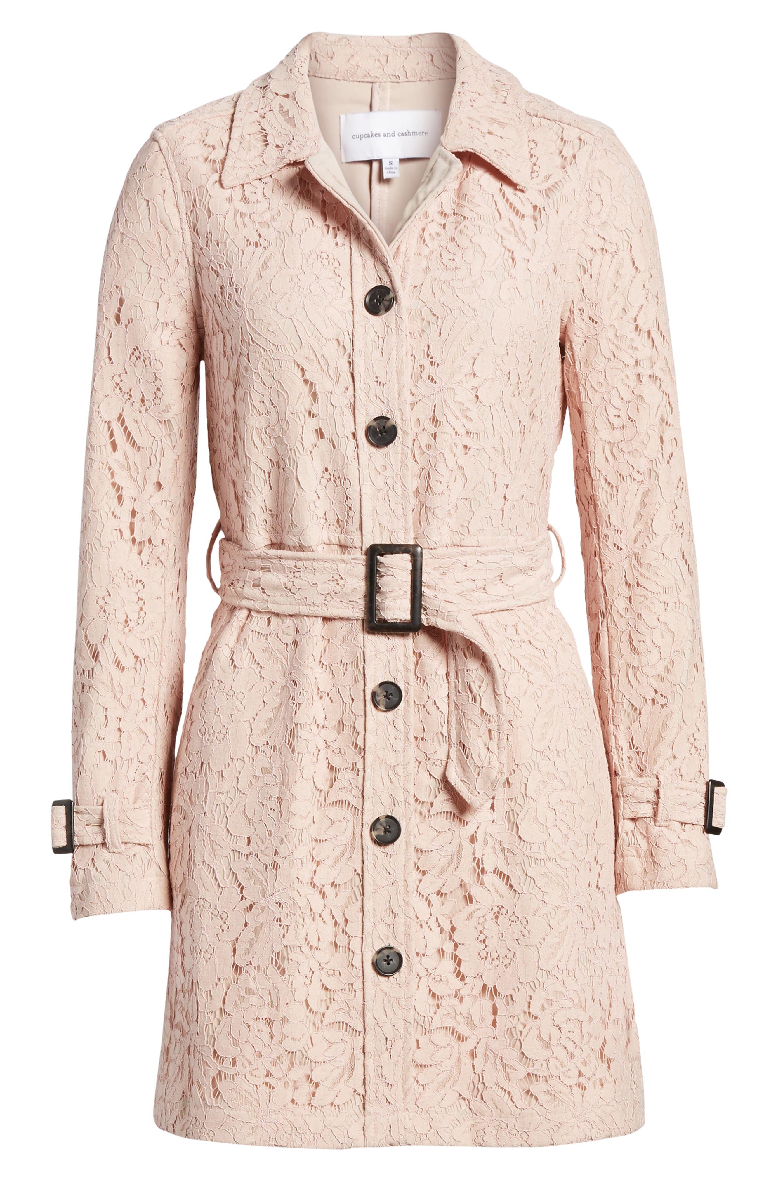 Auretta Lace Trench Coat,                             Alternate thumbnail 7, color,                             Pale Pink