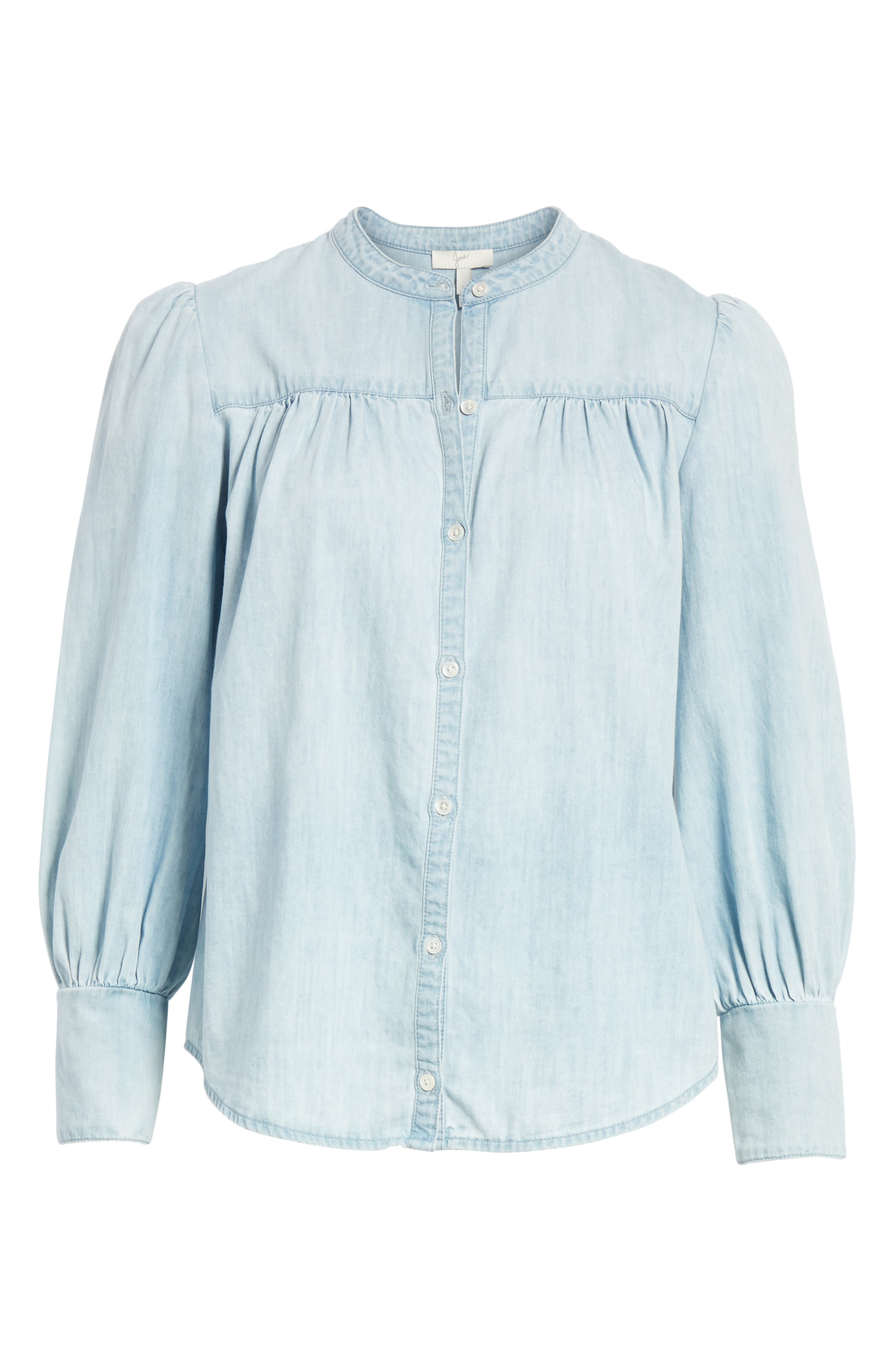 Aubrielle Silk Cotton Chambray Top,                             Alternate thumbnail 6, color,                             Western Fade