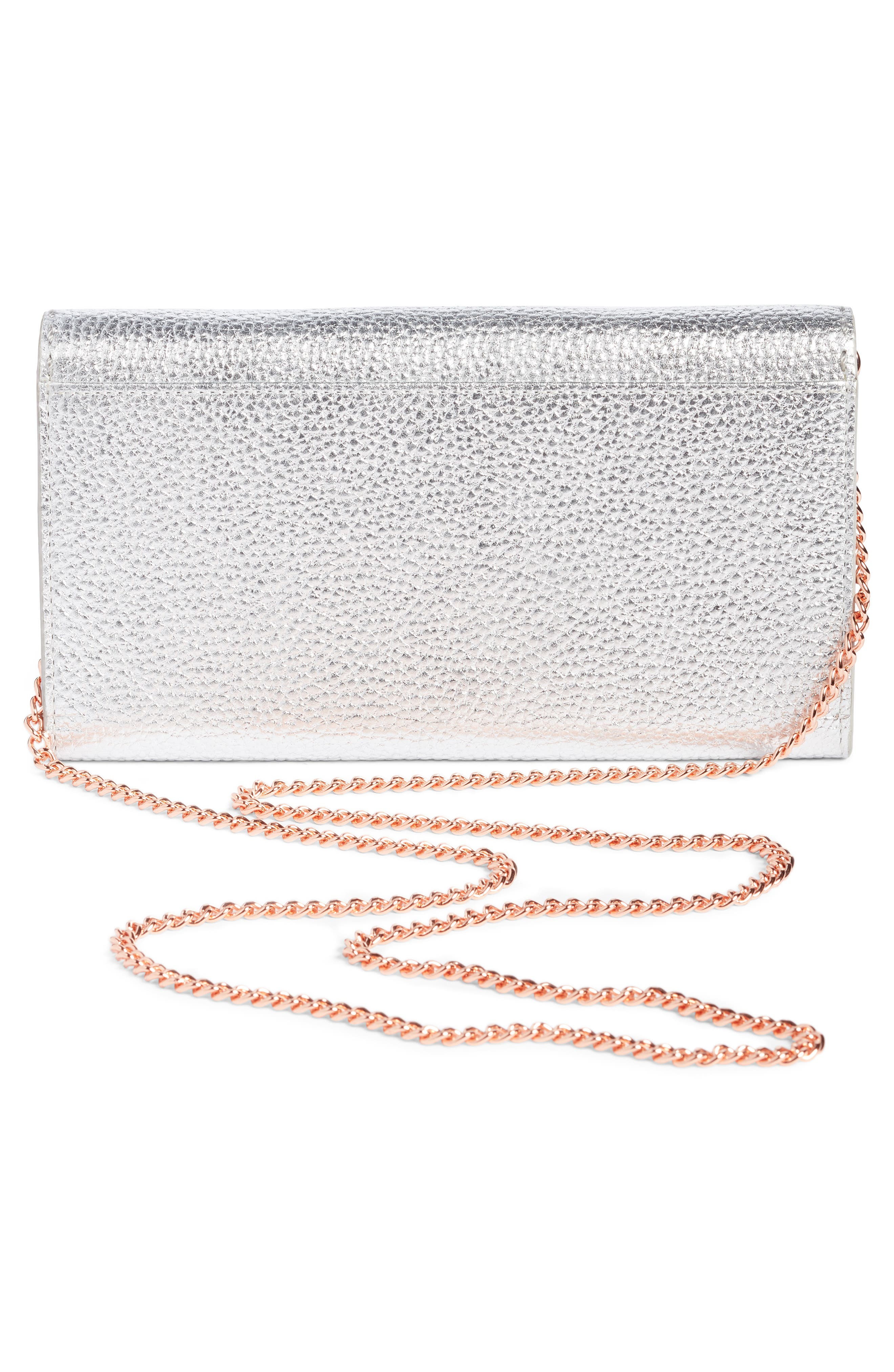 Janese Bee Embellished Matinée Wallet,                             Alternate thumbnail 3, color,                             Silver