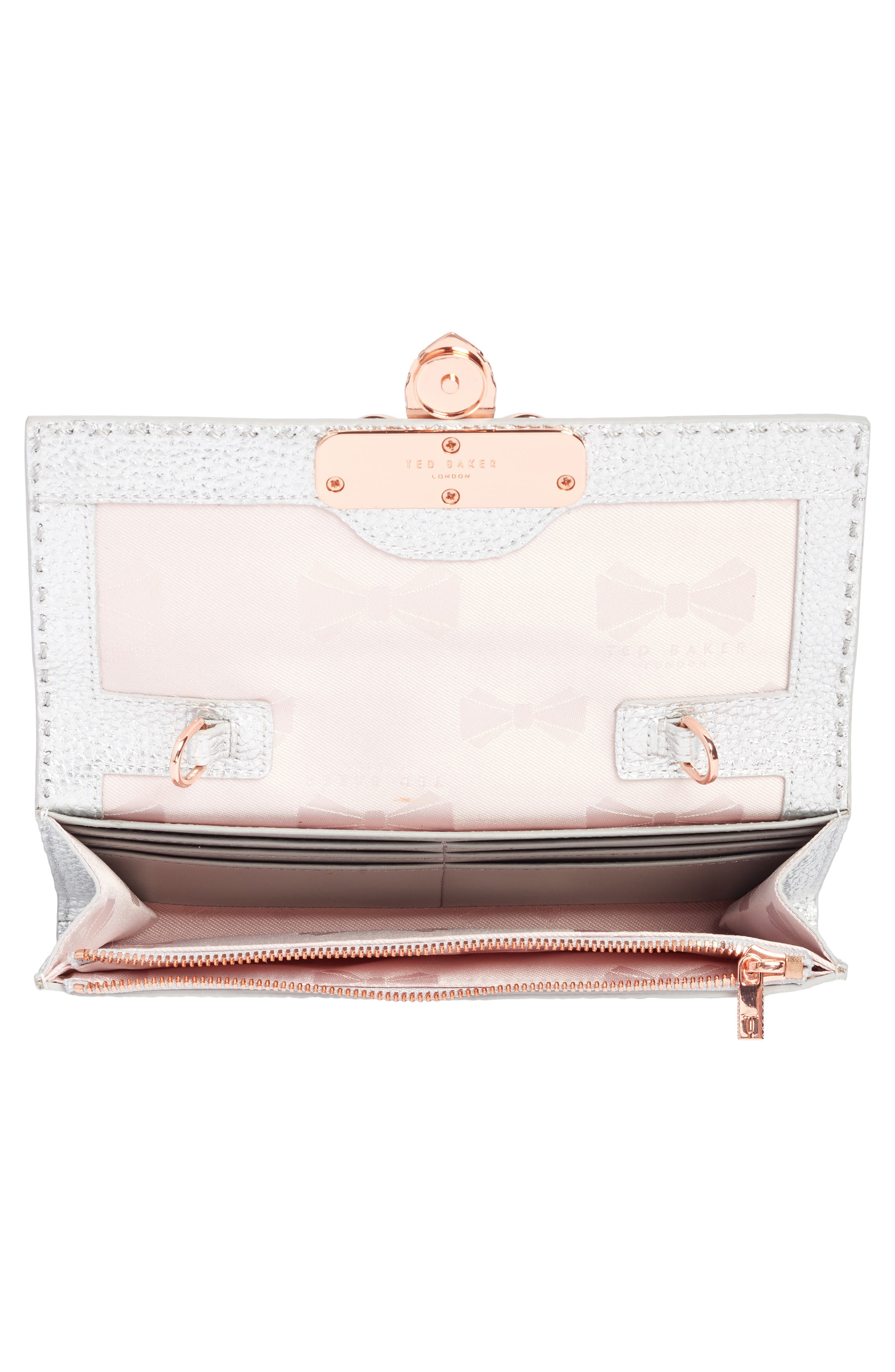 Janese Bee Embellished Matinée Wallet,                             Alternate thumbnail 4, color,                             Silver