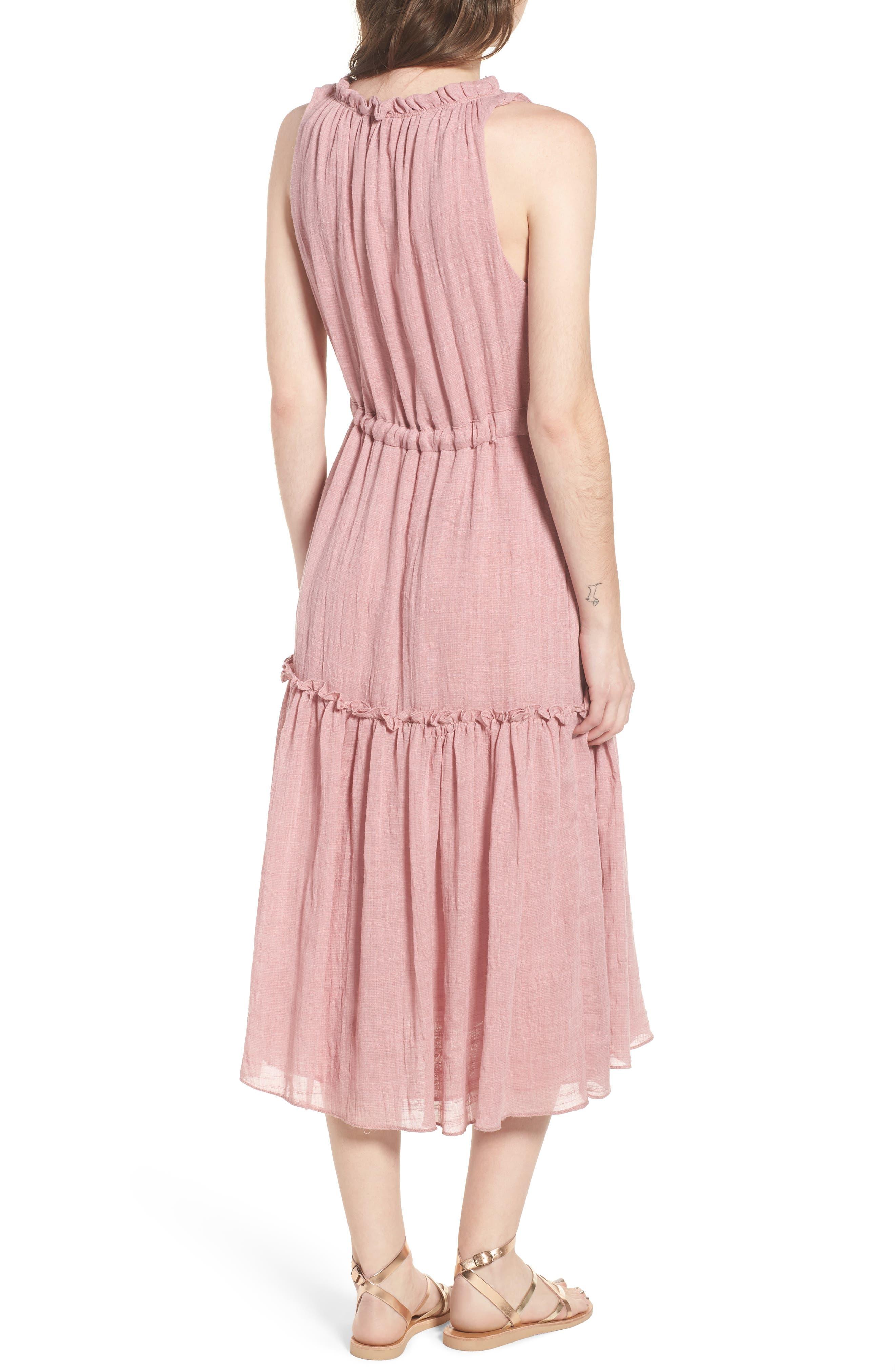 Nicolleta Tie Waist Midi Dress,                             Alternate thumbnail 2, color,                             Dusty Pink