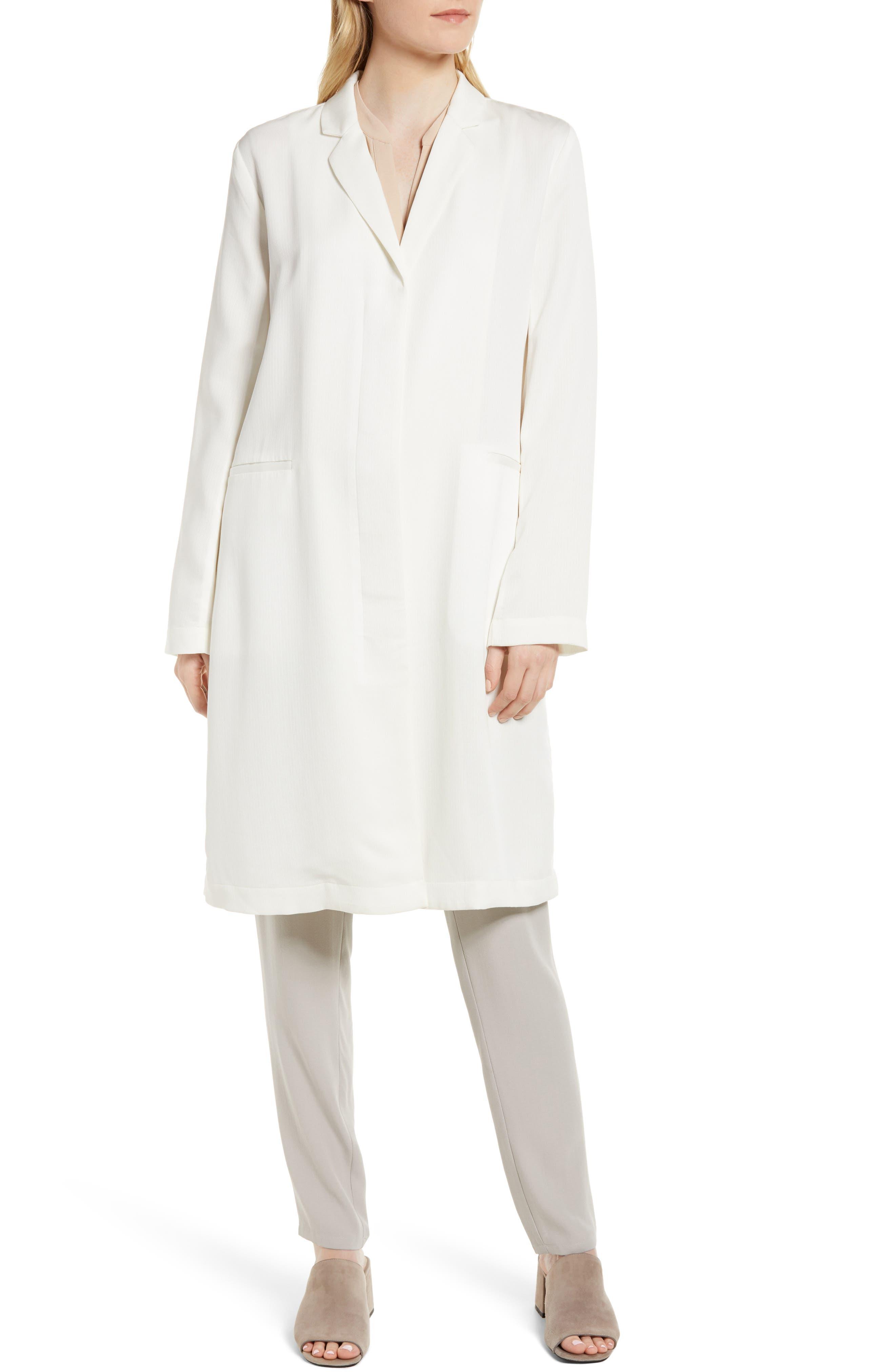 Long Tencel<sup>®</sup> Lyocell Jacket,                             Alternate thumbnail 4, color,                             White