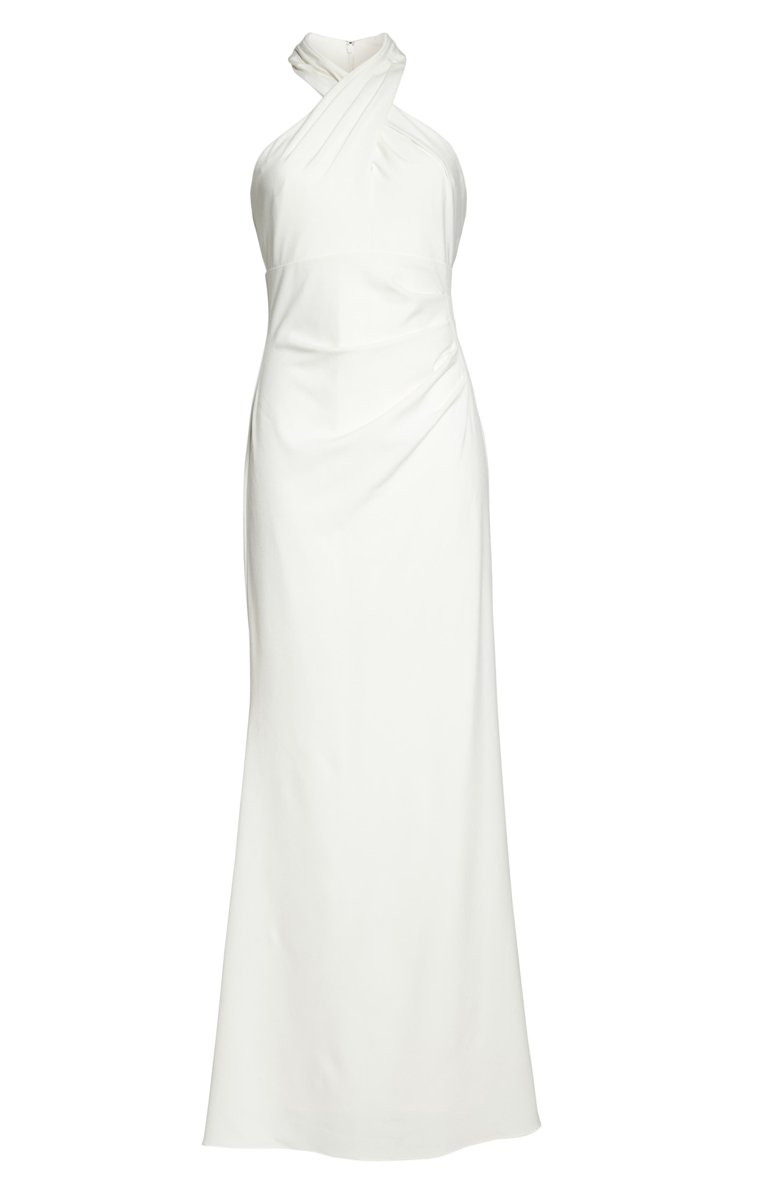 Side Pleat Crossneck Gown,                             Alternate thumbnail 6, color,                             Ivory