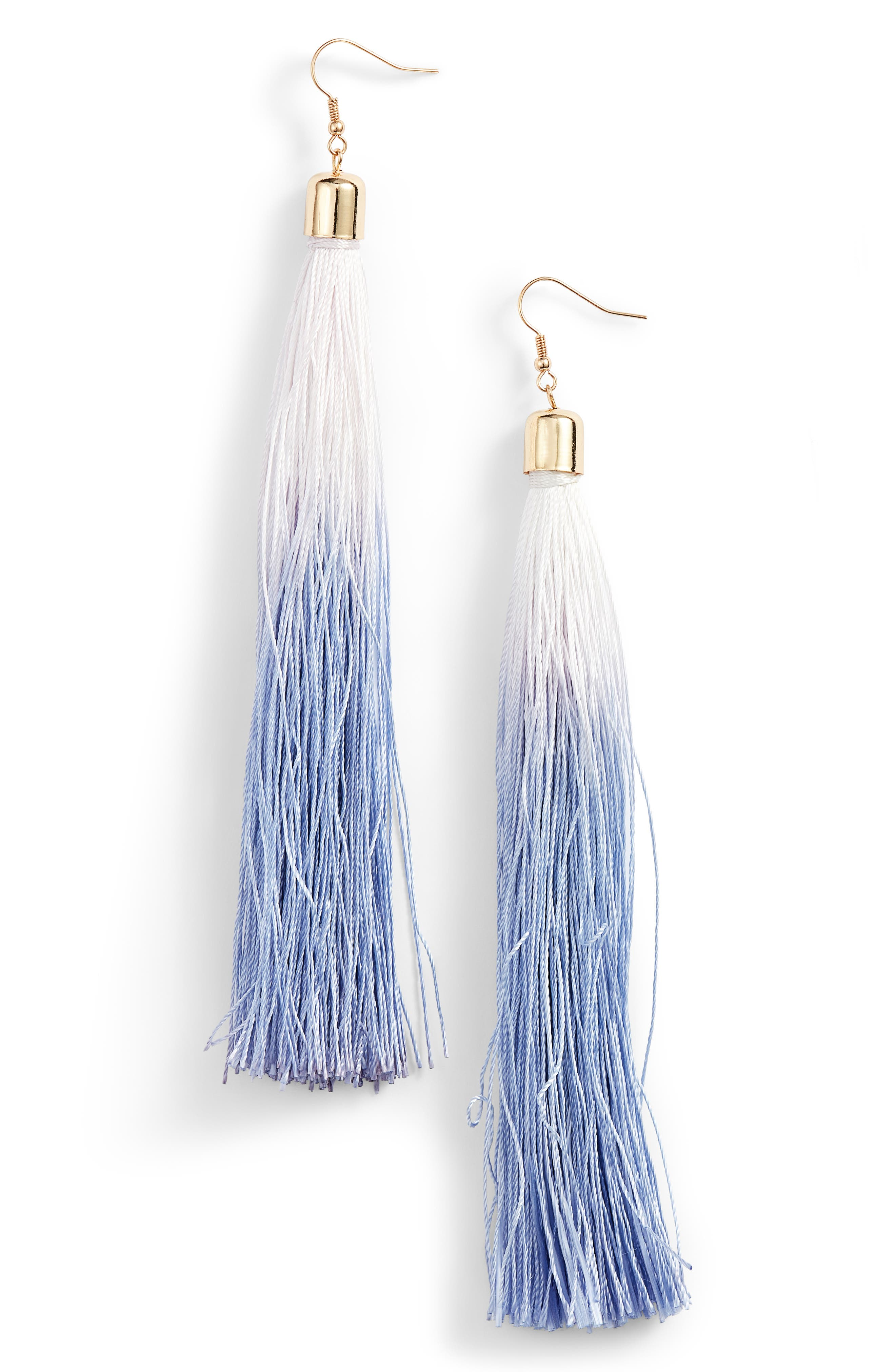 Ombré Tassel Earrings,                             Main thumbnail 1, color,                             Blue Ombre
