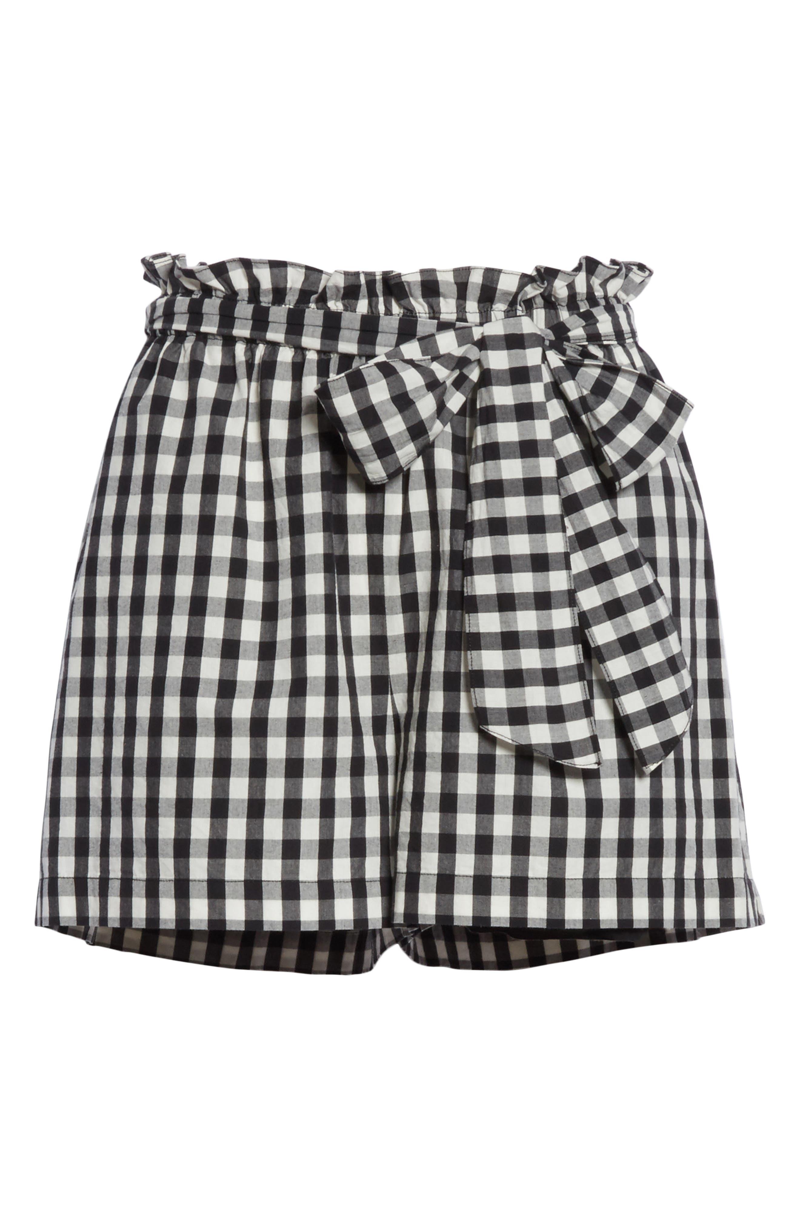 Cleantha Gingham Cotton Shorts,                             Alternate thumbnail 6, color,                             Caviar