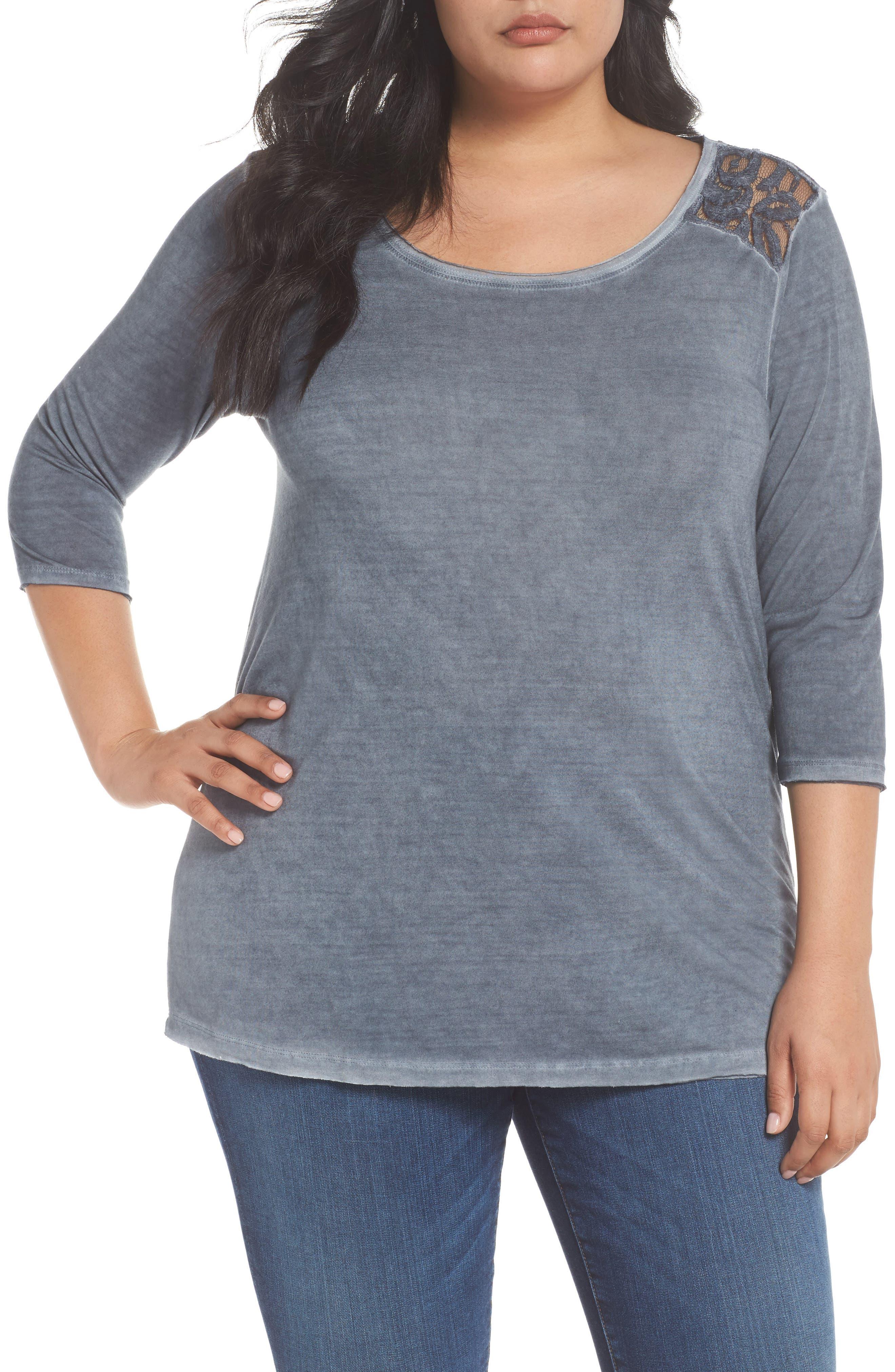 Main Image - Dantelle Lace Shoulder Oil-Dye Top (Plus Size)