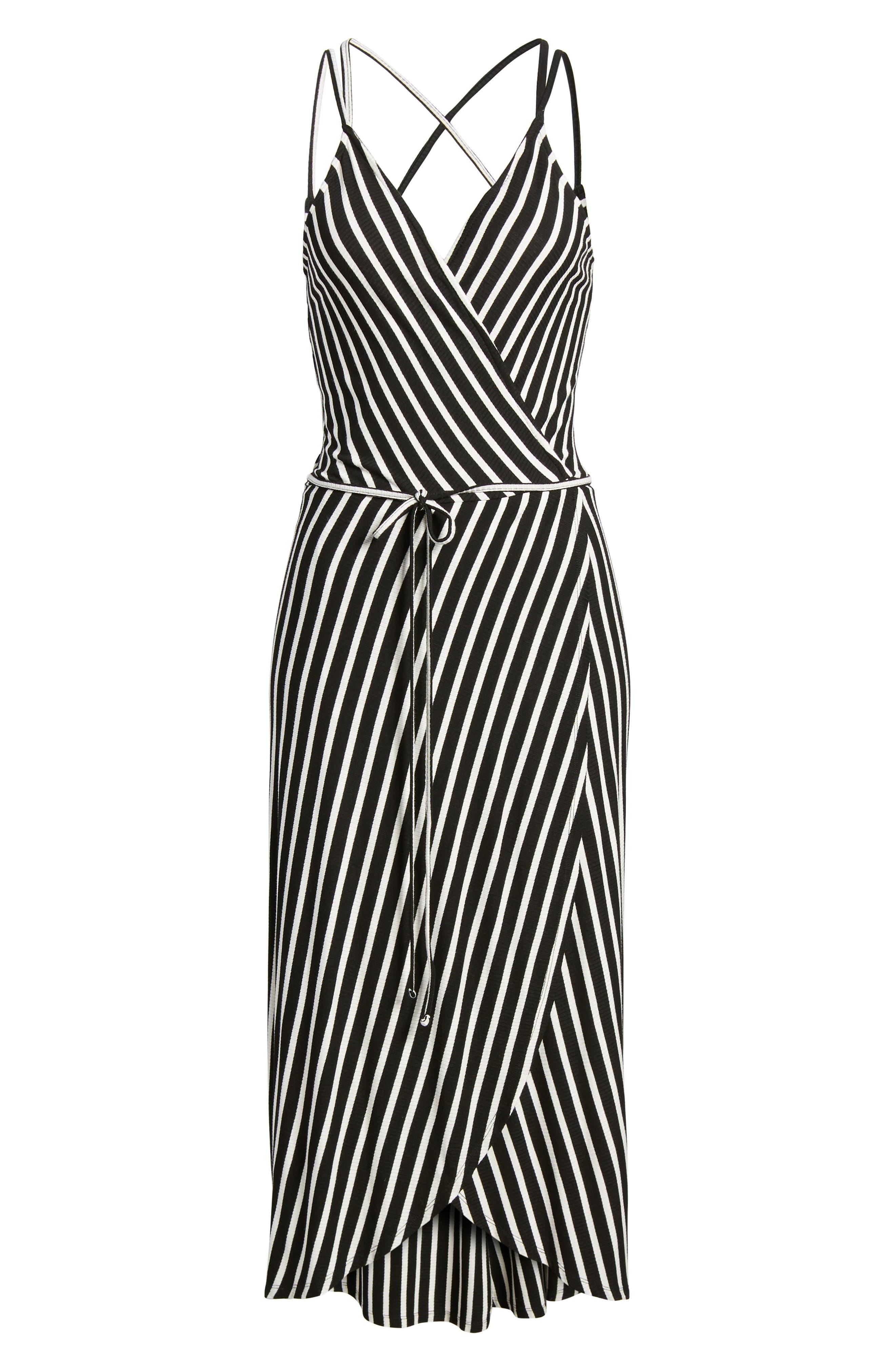 Ribbed Stripe Wrap Dress,                             Alternate thumbnail 6, color,                             Black/ White Stripe