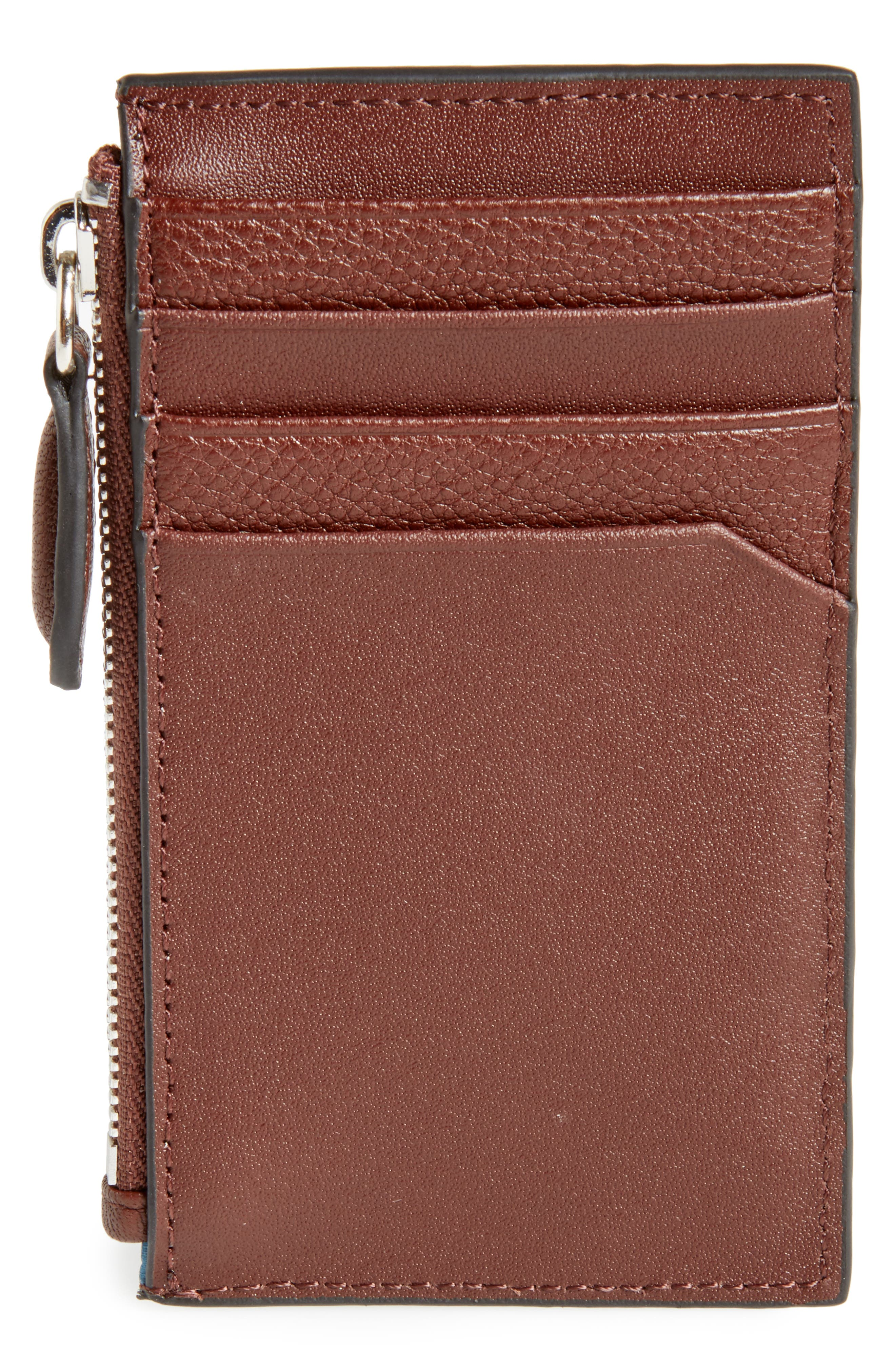 Snapps Core Leather Zip Card Case,                             Alternate thumbnail 2, color,                             Tan